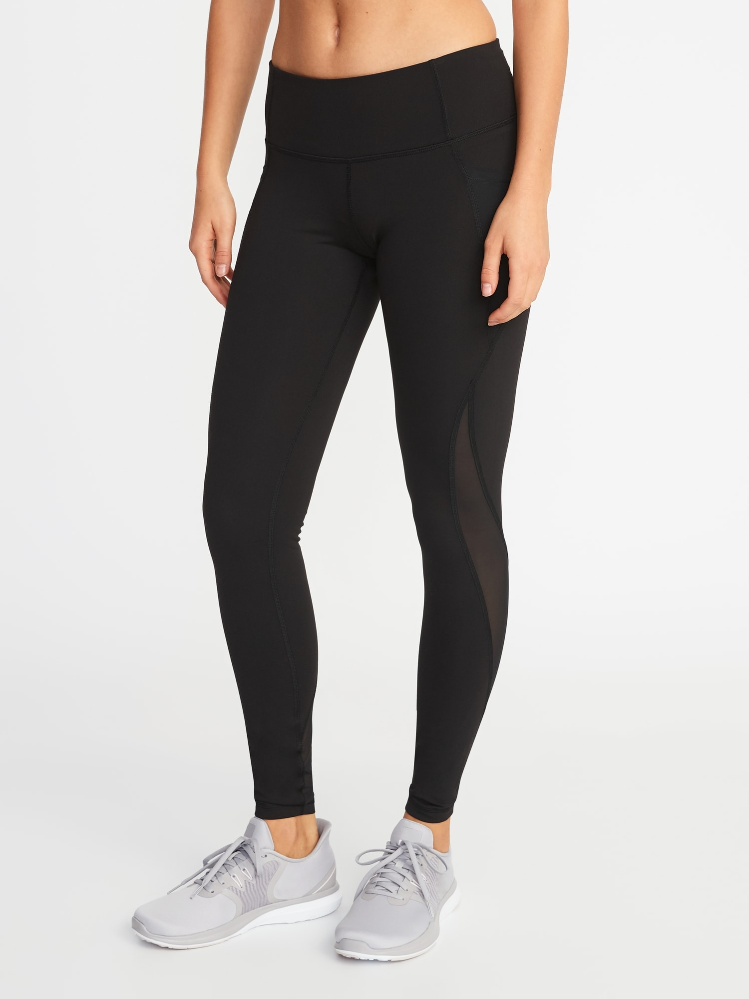 09bb5840dd3 Mid-Rise Elevate Side-Pocket Mesh-Trim Compression Leggings for Women