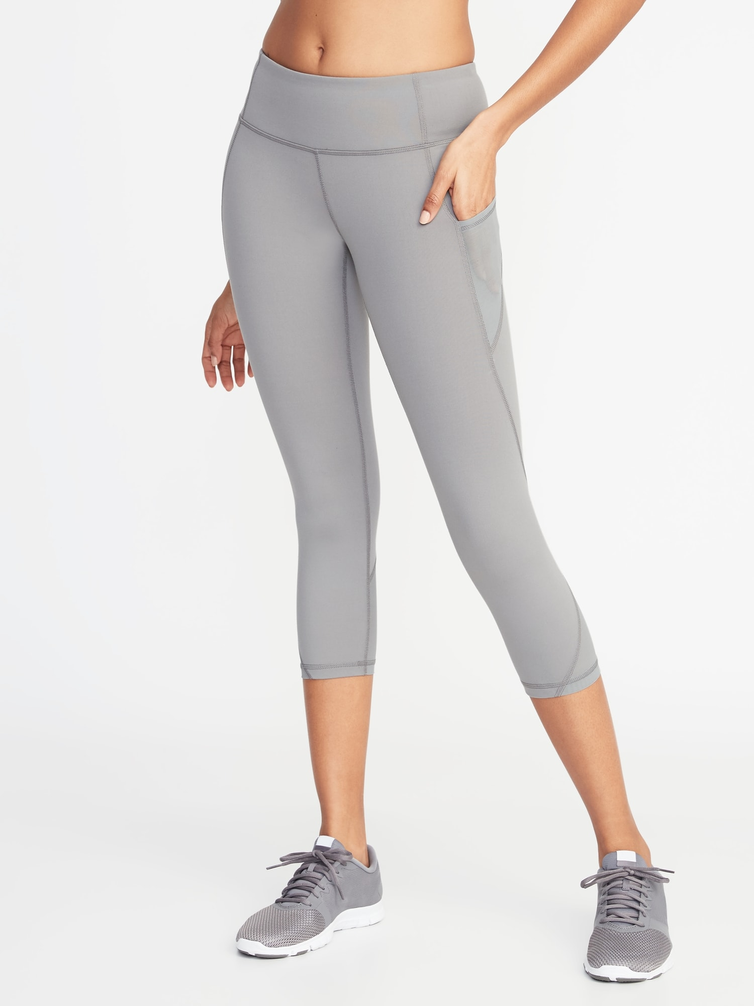 d4b2525b213e2a Mid-Rise Elevate Side-Pocket Mesh-Trim Compression Crops for Women ...