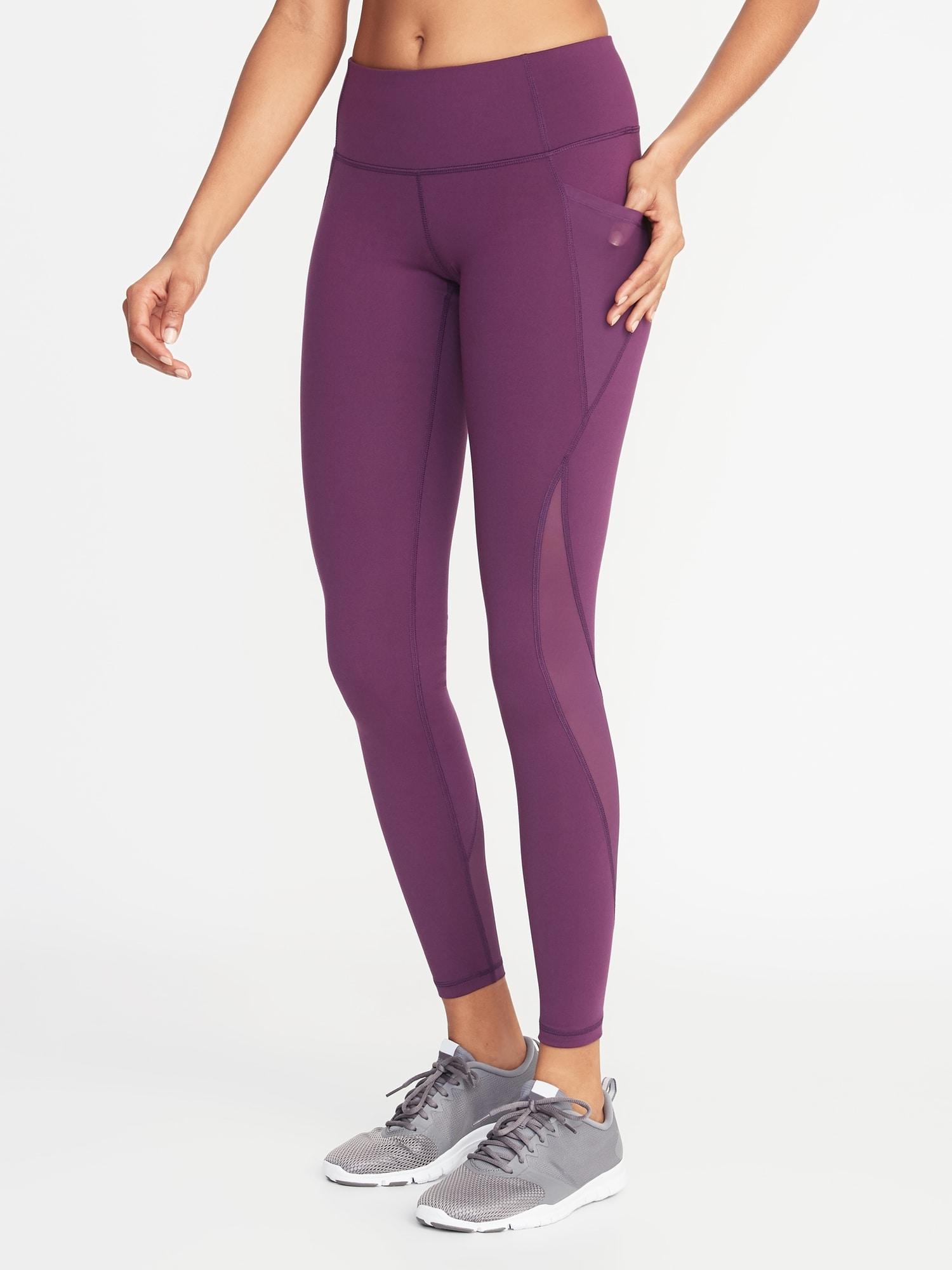 4b7407a6027963 Mid-Rise Elevate Side-Pocket Mesh-Trim Compression Leggings for Women
