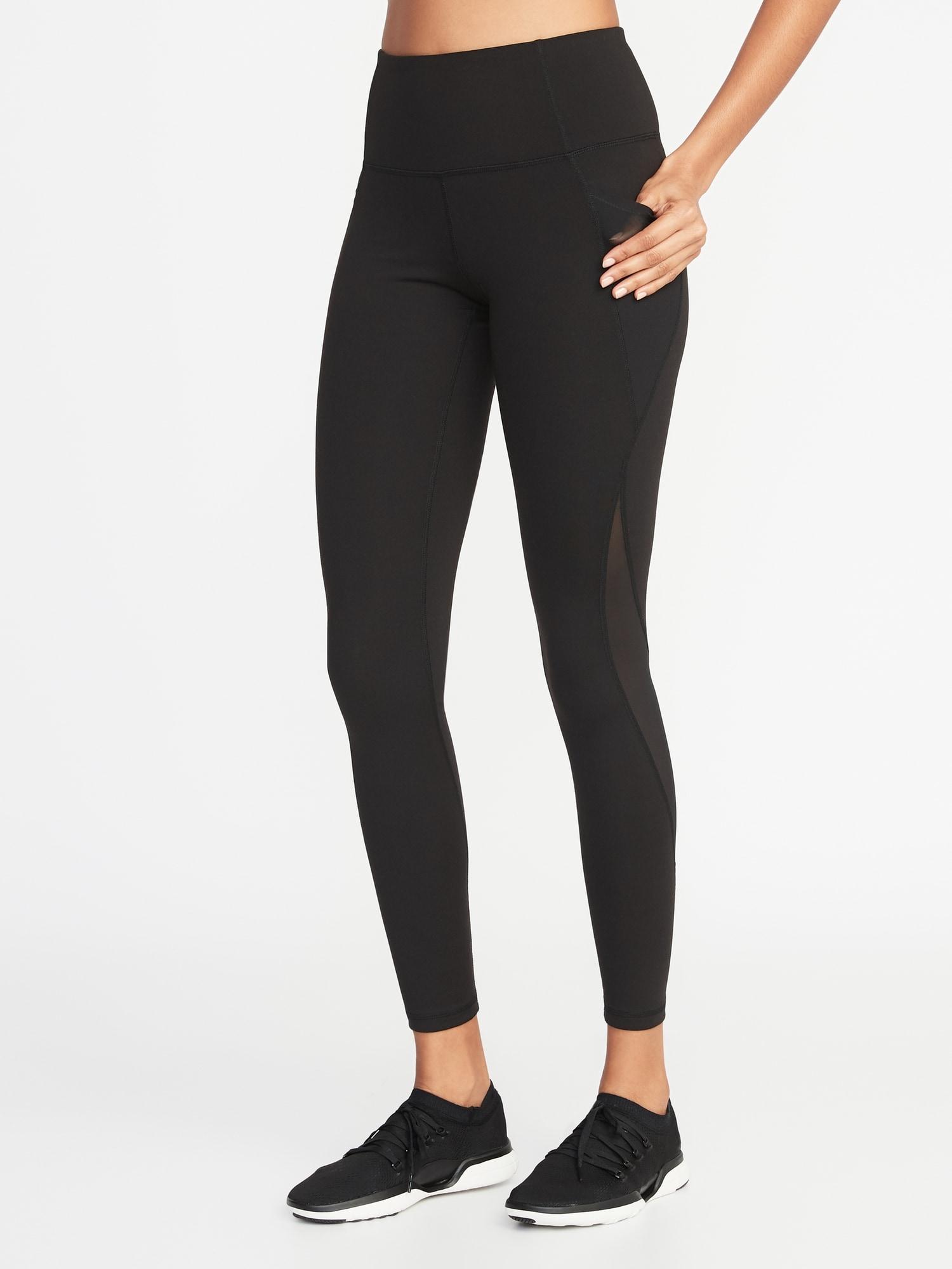 d5034ed739687d High-Rise Elevate Side-Pocket Mesh-Trim Compression Leggings for Women