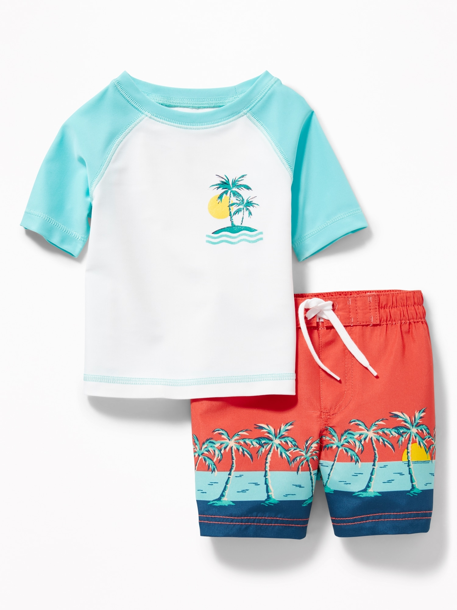 c18a09d5a Graphic Rashguard & Printed Swim Trunks Set for Baby   Old Navy