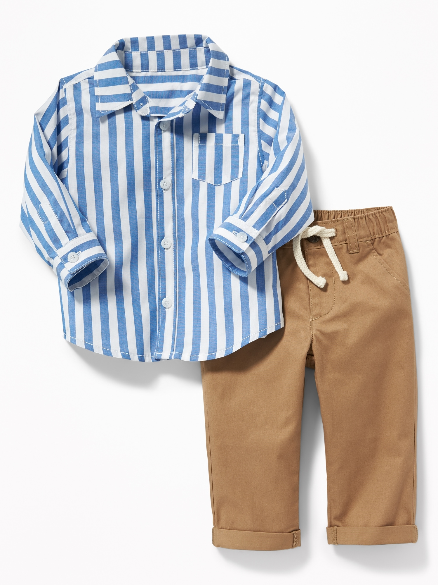 d0630070619 Patterned Shirt   Twill Chinos Set for Baby