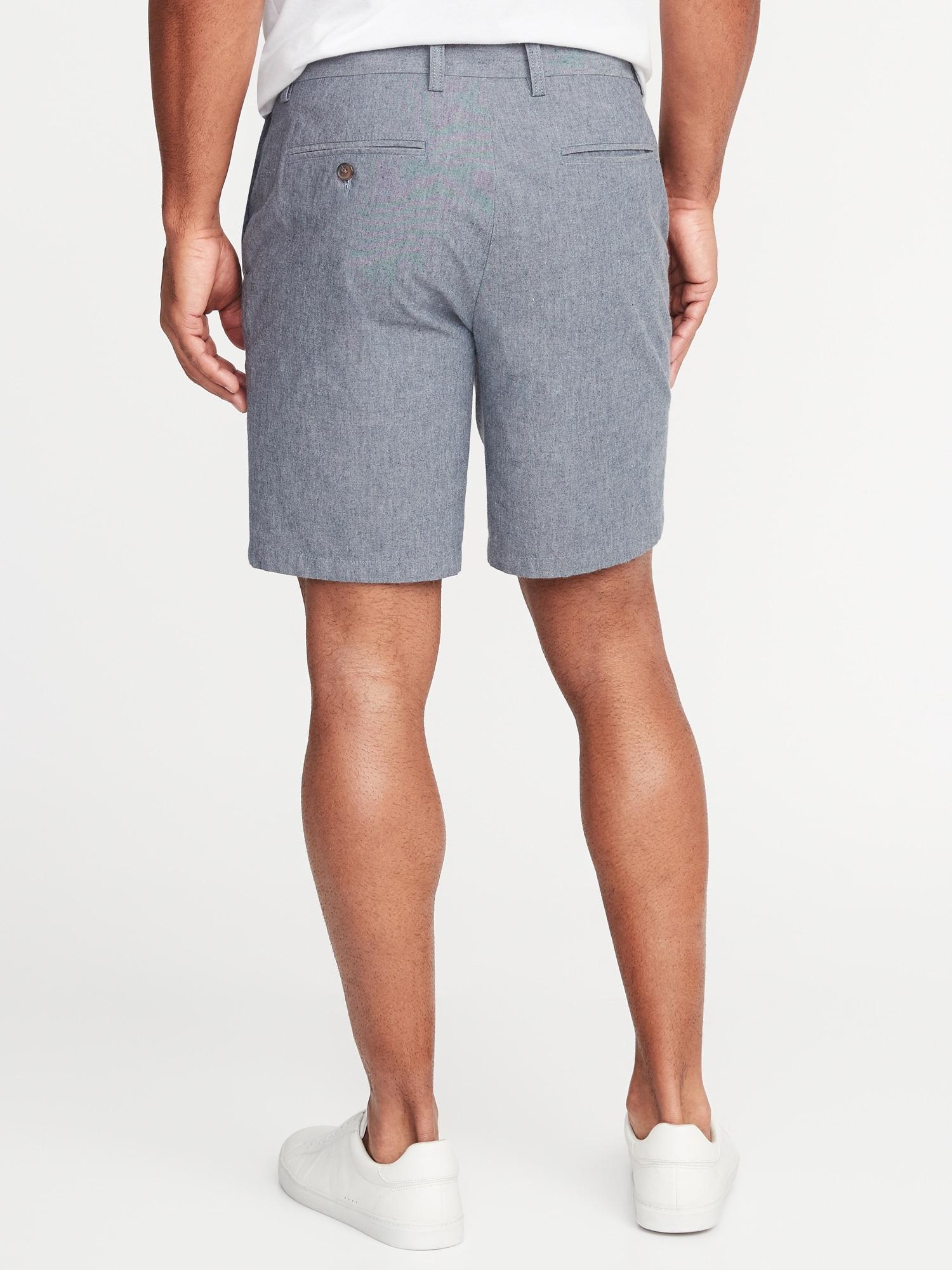 3f2c5140b53 Ultimate Slim Built-In Flex Chambray Shorts for Men - 8-inch inseam ...