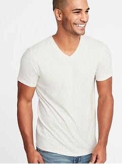 T-shirt col en V au fini soyeux pour homme