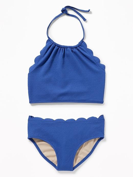 3da7c9f78a499 Textured Scalloped-Edge Tankini Swim Set for Girls