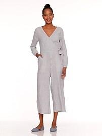 cf2c2220d48 Waist-Defined Linen-Blend Striped Jumpsuit for Women