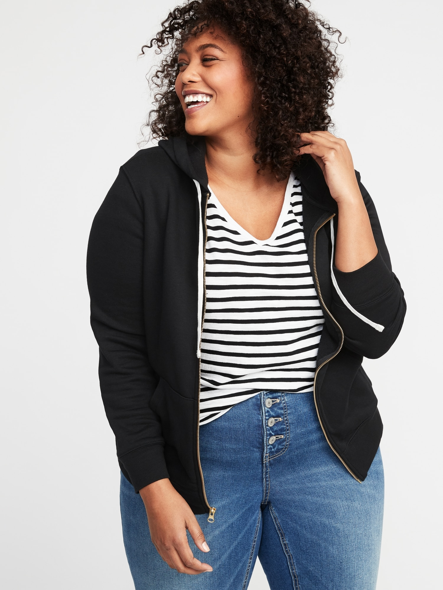 f9f077b3a6f1be Relaxed Plus-Size Zip Hoodie