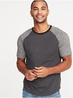 Soft-Washed Color-Blocked Tee for Men