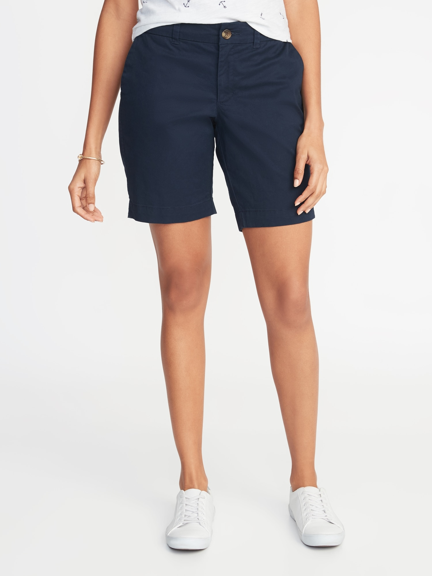 da05340b0e Mid-Rise Twill Everyday Bermuda Shorts for Women - 9-inch inseam | Old Navy