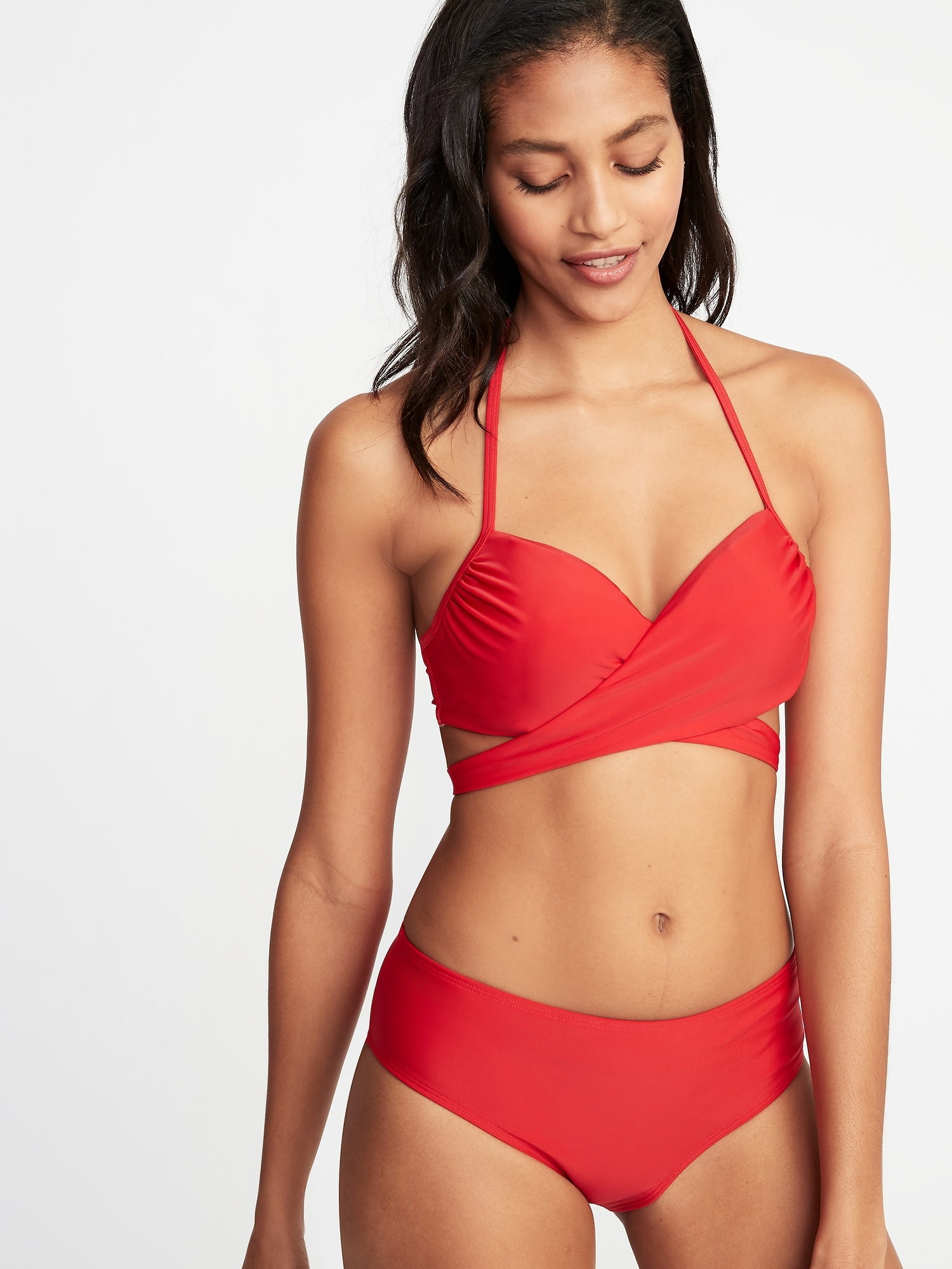 bd22fc047f1c5 Wrap-Front Halter Underwire Swim Top for Women | Old Navy