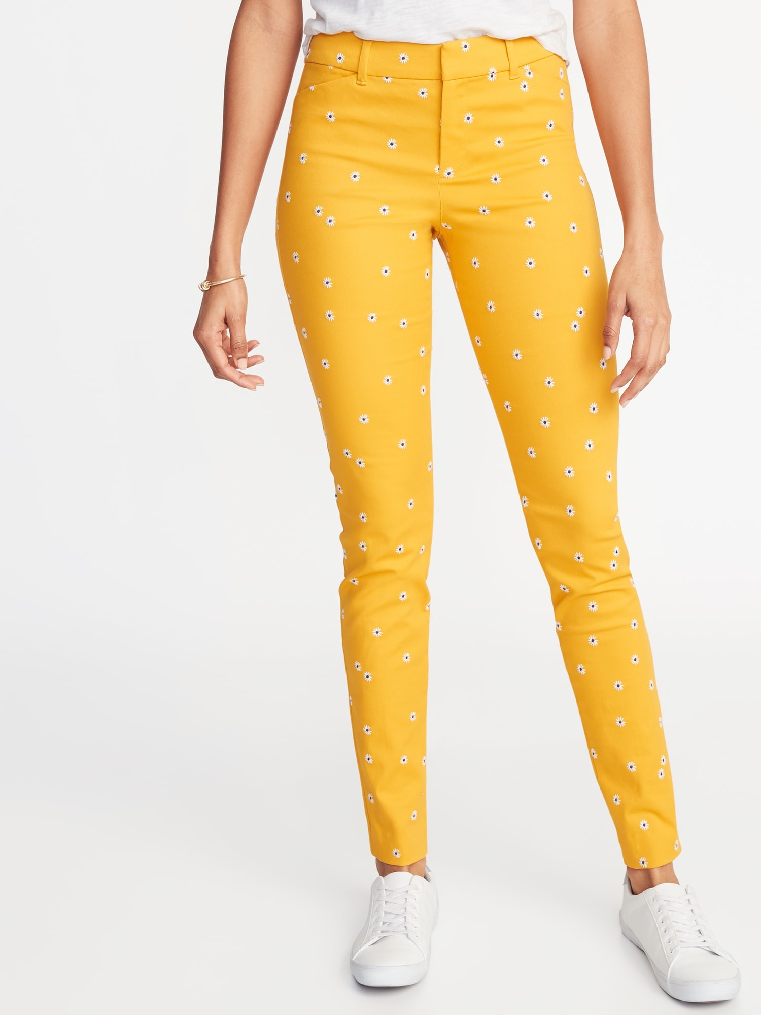 7d91b26f4 Mid-Rise Daisy-Print Pixie Full-Length Pants for Women | Old Navy
