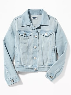 Light-Wash Jean Jacket For Girls