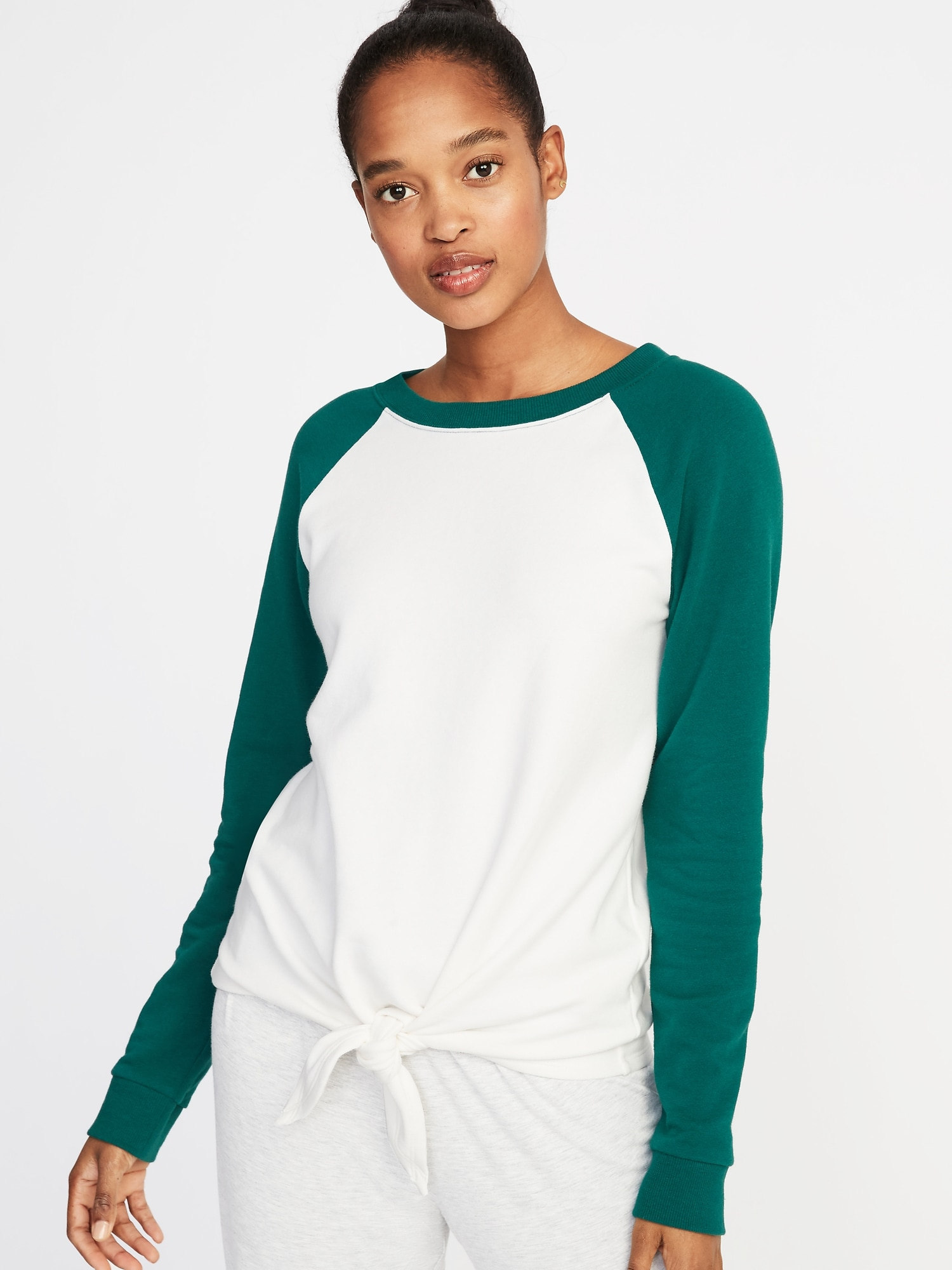 02b14c1b46a Relaxed French-Terry Tie-Front Sweatshirt for Women