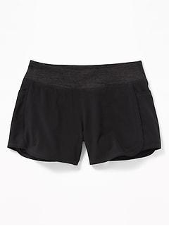 Knit-Waist 4-Way-Stretch Run Shorts For Girls
