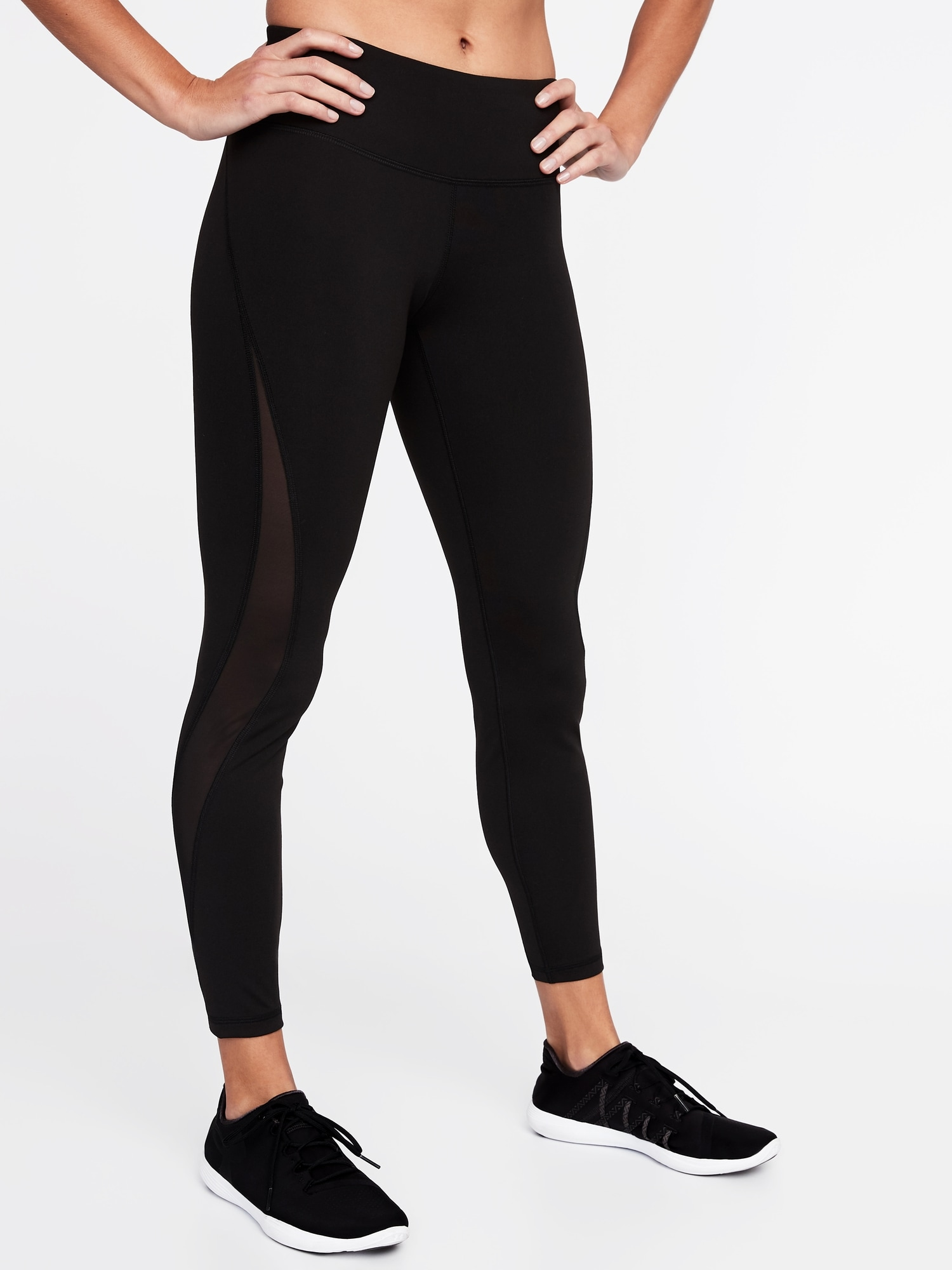 04a4ae1a78 Mid-Rise Elevate 7/8-Length Mesh-Panel Compression Leggings for Women