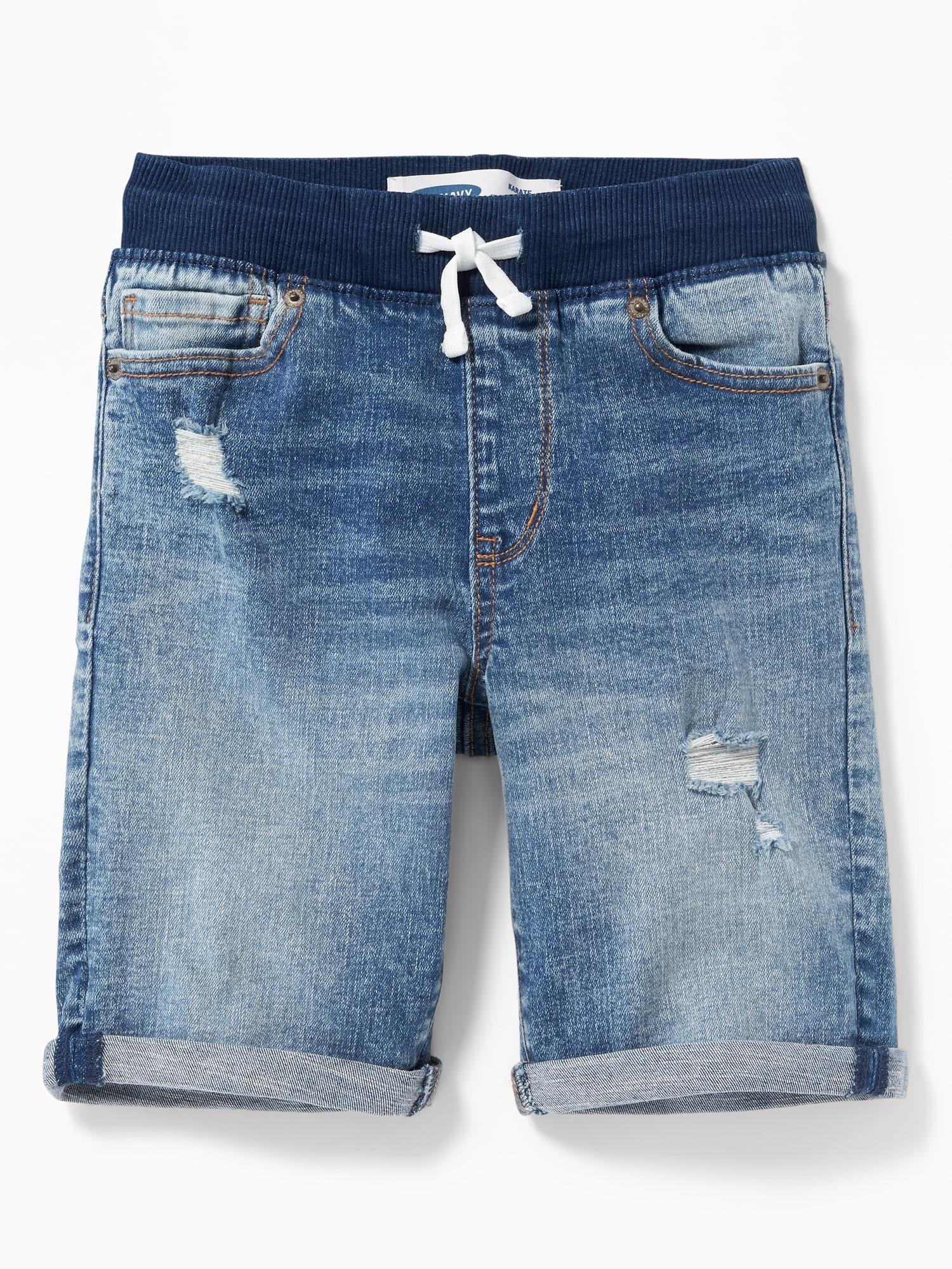 dc630796294 Karate Rib-Knit Waist Distressed Denim Shorts for Boys