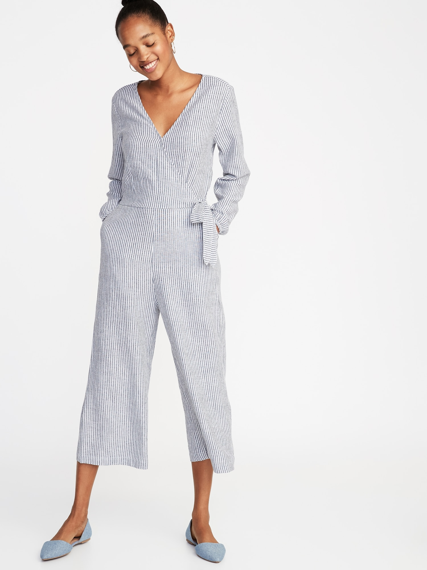 0c4c49960692 Waist-Defined Linen-Blend Striped Jumpsuit for Women