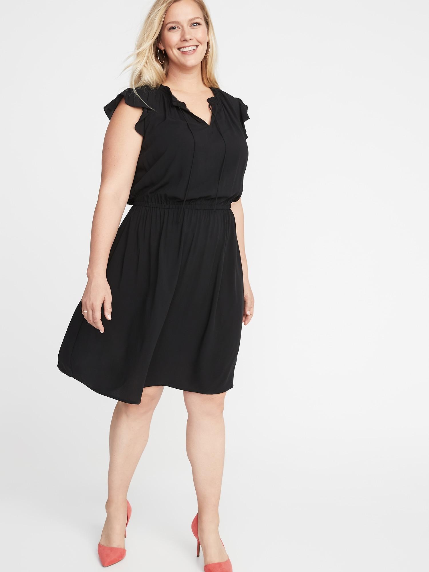 dd815f34f2b Waist-Defined Flutter-Sleeve Plus-Size Dress