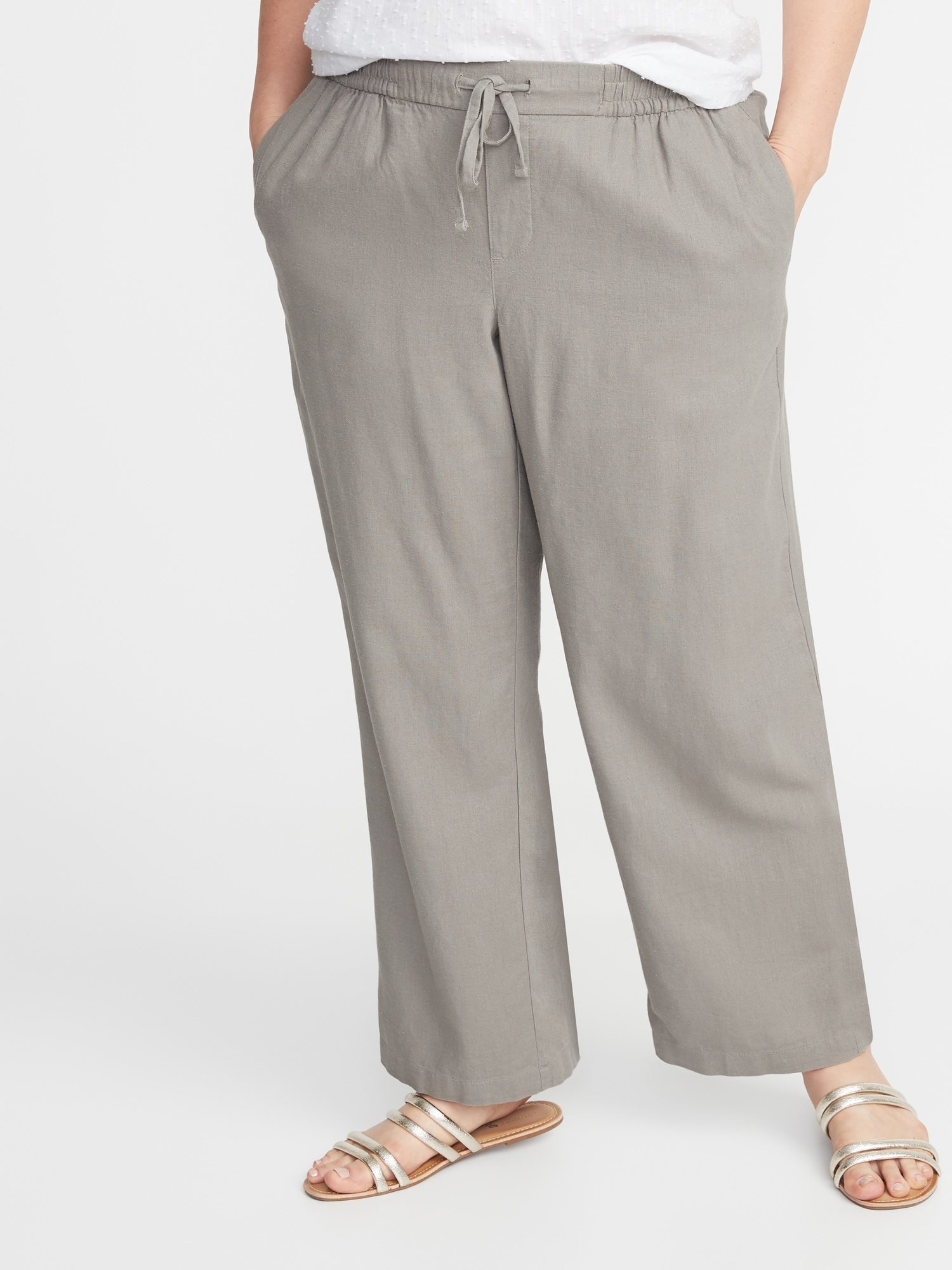 low price sale pretty and colorful elegant shoes Plus-Size Wide-Leg Linen-Blend Pants | Old Navy