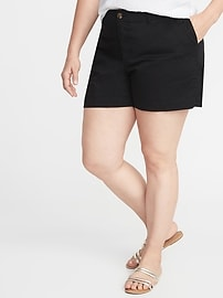 e766017bbe5 Mid-Rise Plus-Size Everyday Twill Shorts - 5 inch inseam