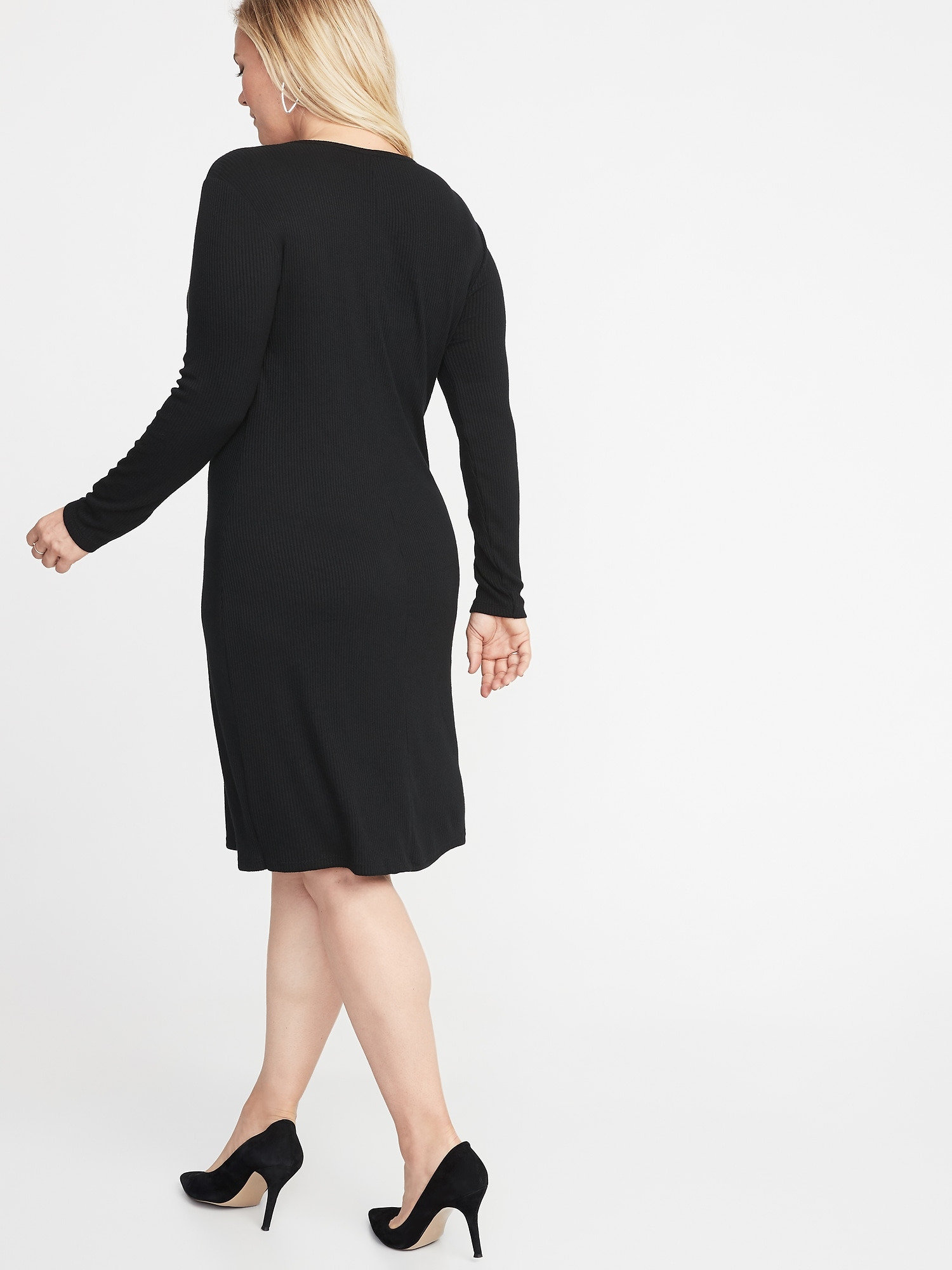 4ebfd28bb6 Rib-Knit Plus-Size Shift Dress