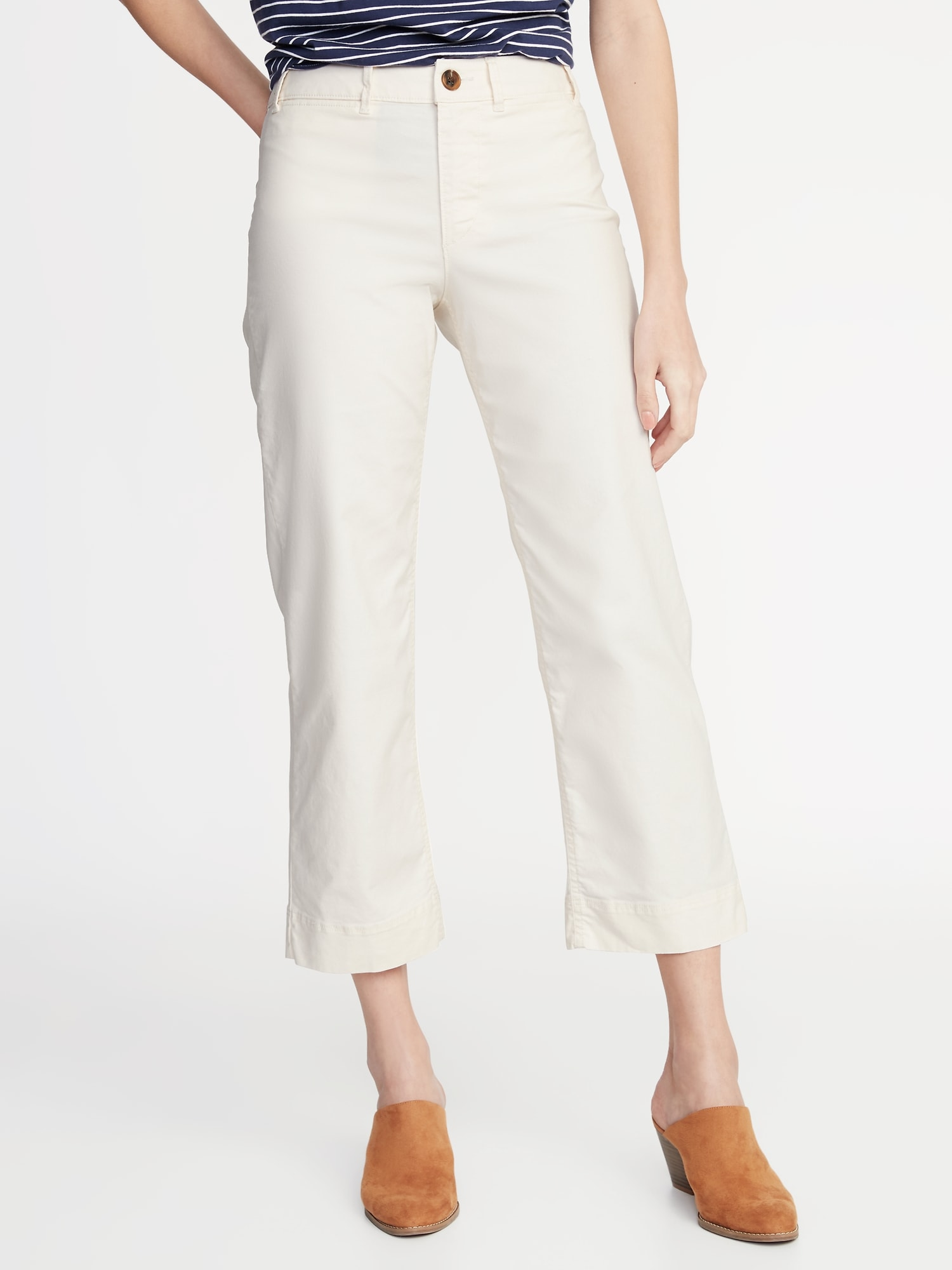 Mid-Rise Wide-Leg Utility Chinos for Women