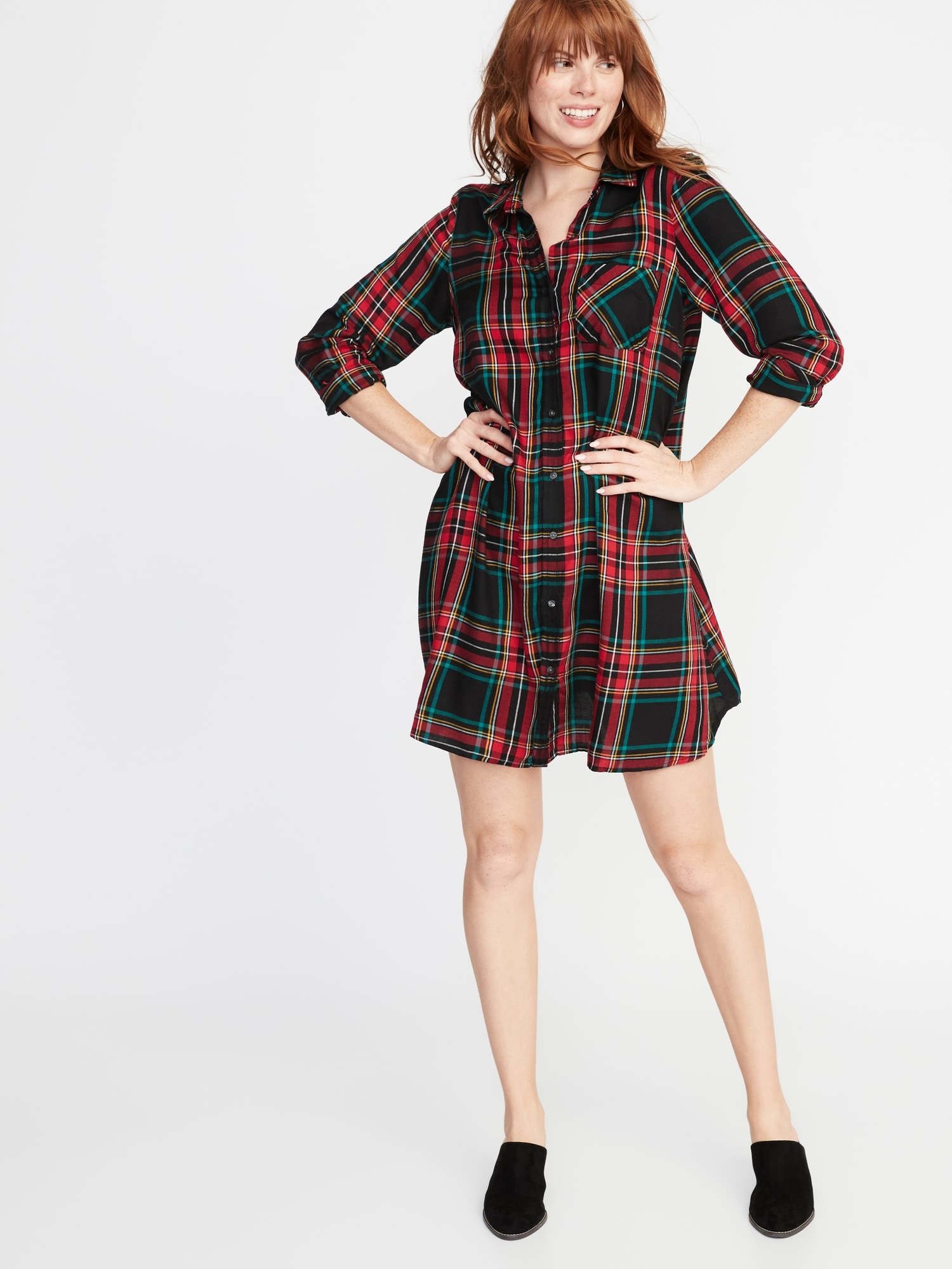 863a4586 Plaid Swing Shirt Dress for Women | Old Navy