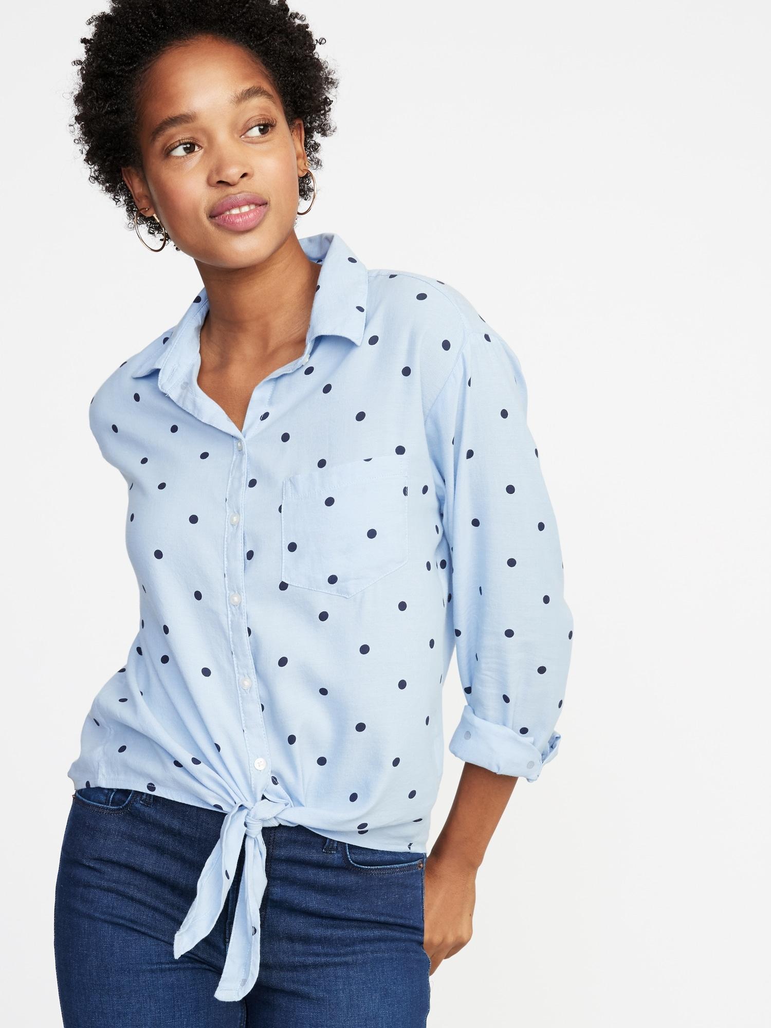 24b30b17bf9 Polka-Dot Tie-Hem Shirt for Women