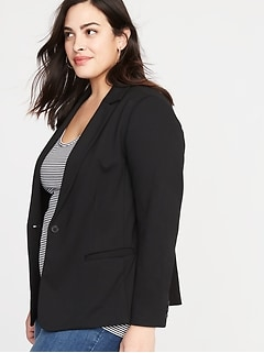 Blazer classique en tricot pointe, taille Plus
