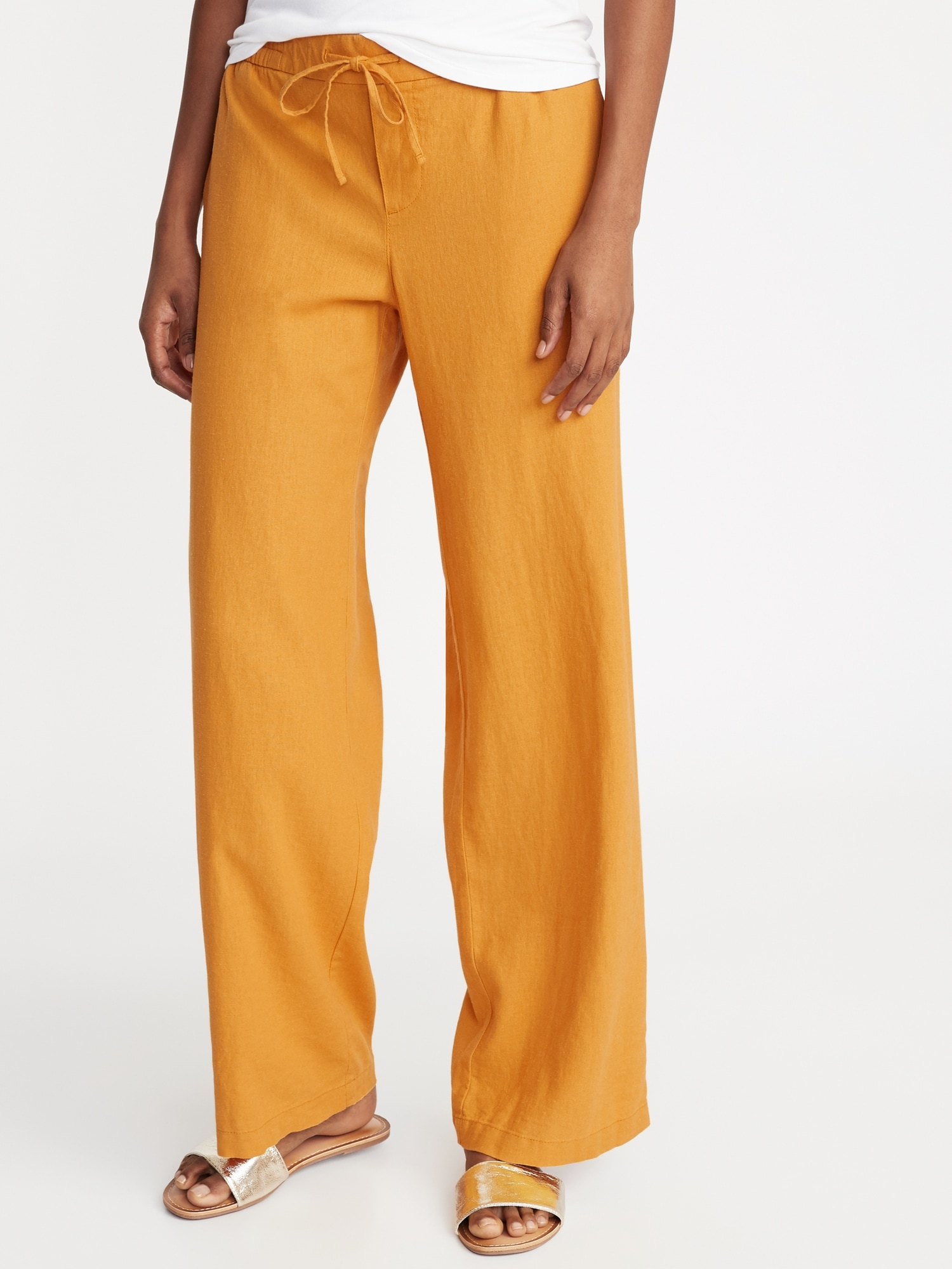 b5ef9966c1fea Mid-Rise Wide-Leg Linen-Blend Pull-On Pants for Women | Old Navy