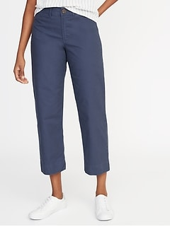 Mid-Rise Slim Wide-Leg Chinos for Women