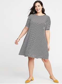 Jersey Elbow-Sleeve Plus-Size Swing Dress