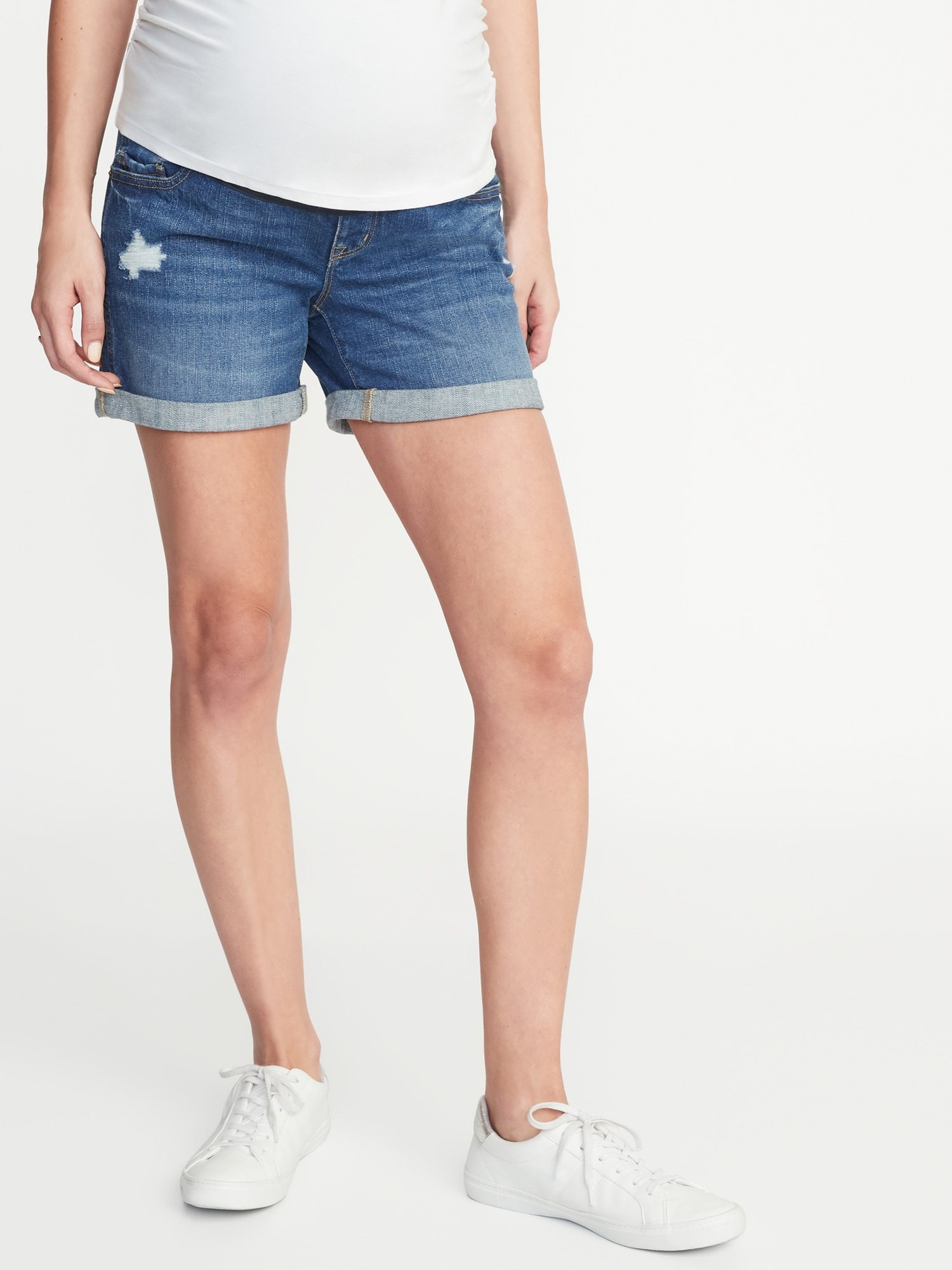 e14f7365d7508 Maternity Full-Panel Distressed Denim Boyfriend Shorts - 5-inch inseam