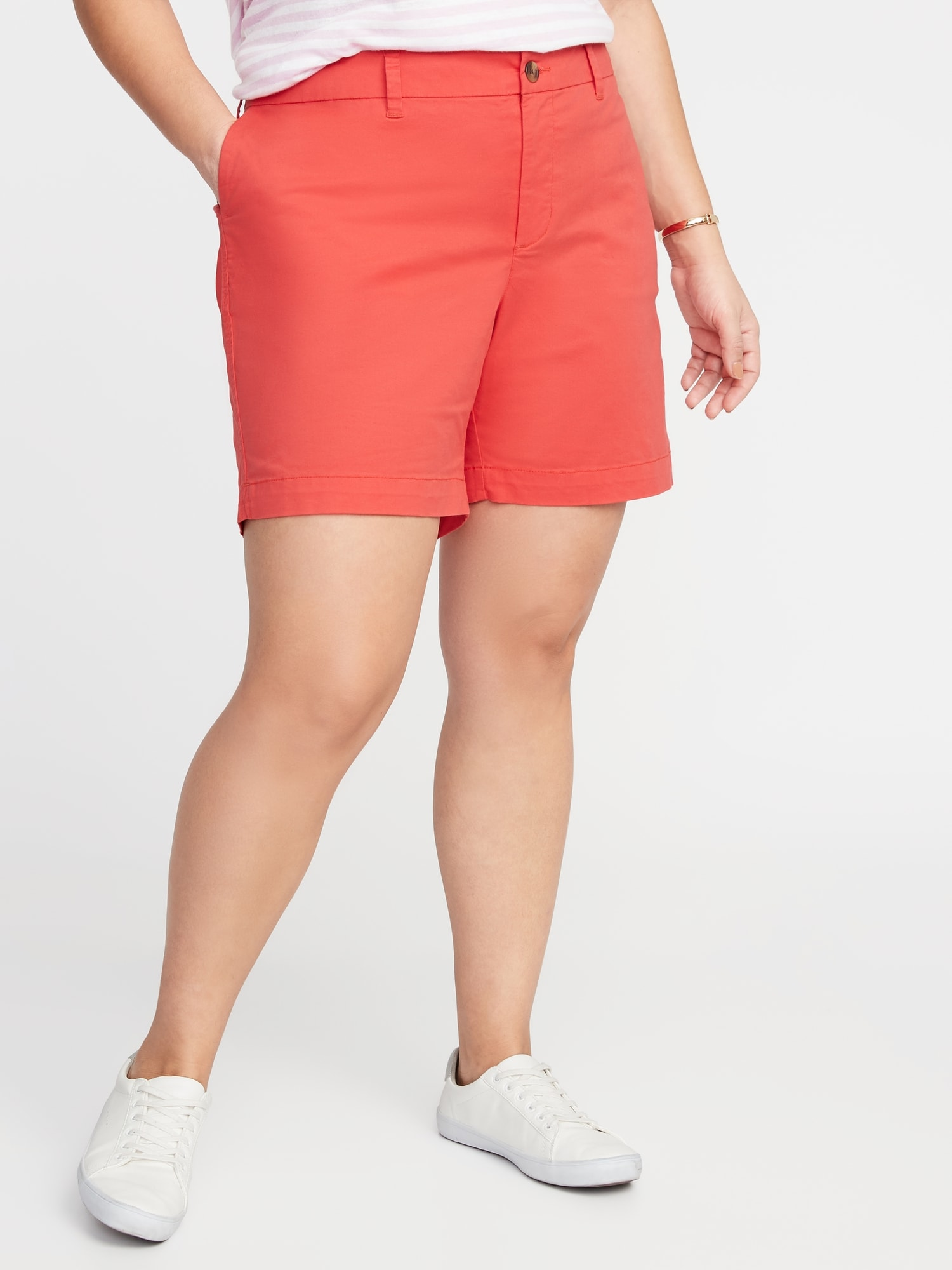 a5db0b3562c Mid-Rise Plus-Size Twill Everyday Shorts - 7-Inch Inseam
