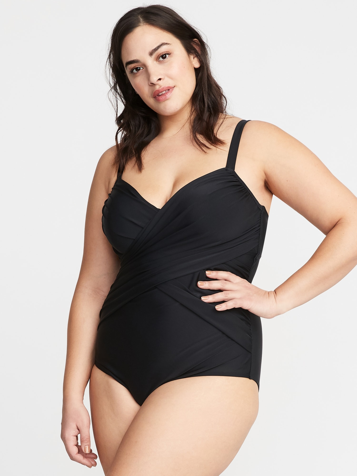 c584c270329 Wrap-Front Secret-Slim Plus-Size Swimsuit