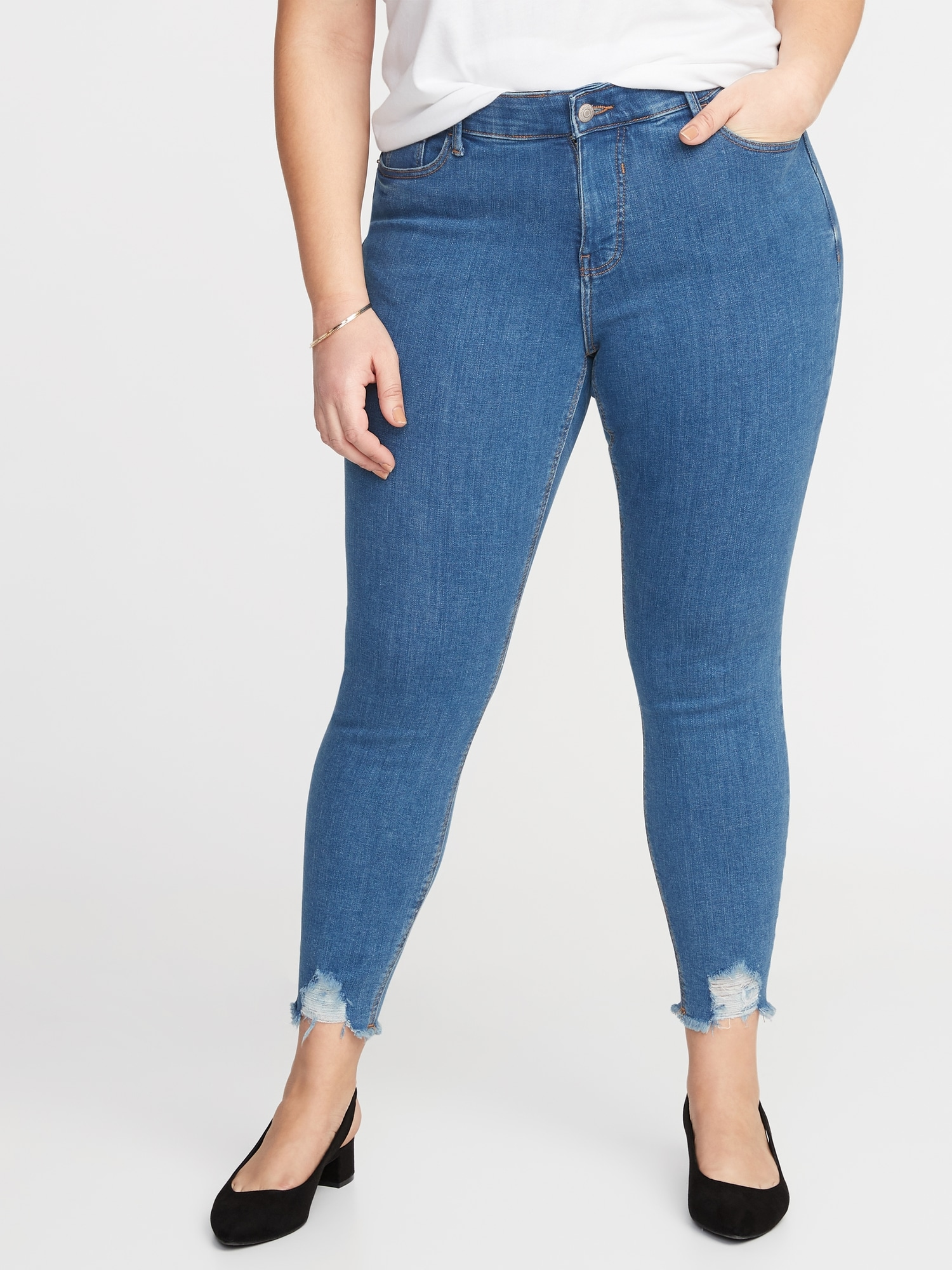 eaf45c8da92 High-Rise Secret-Slim Pockets + Waistband Rockstar Plus-Size Super Skinny  Ankle Jeans