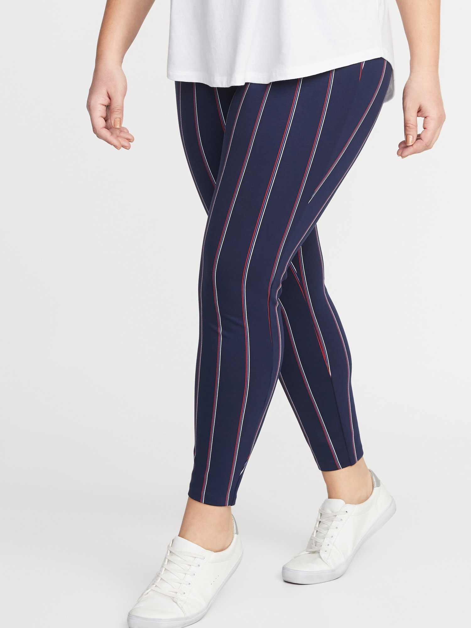 980745d8049 High-Rise Striped Ponte-Knit Plus-Size Stevie Pants