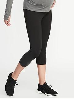 Pantalon trois quarts de compression de maternité à taille haute
