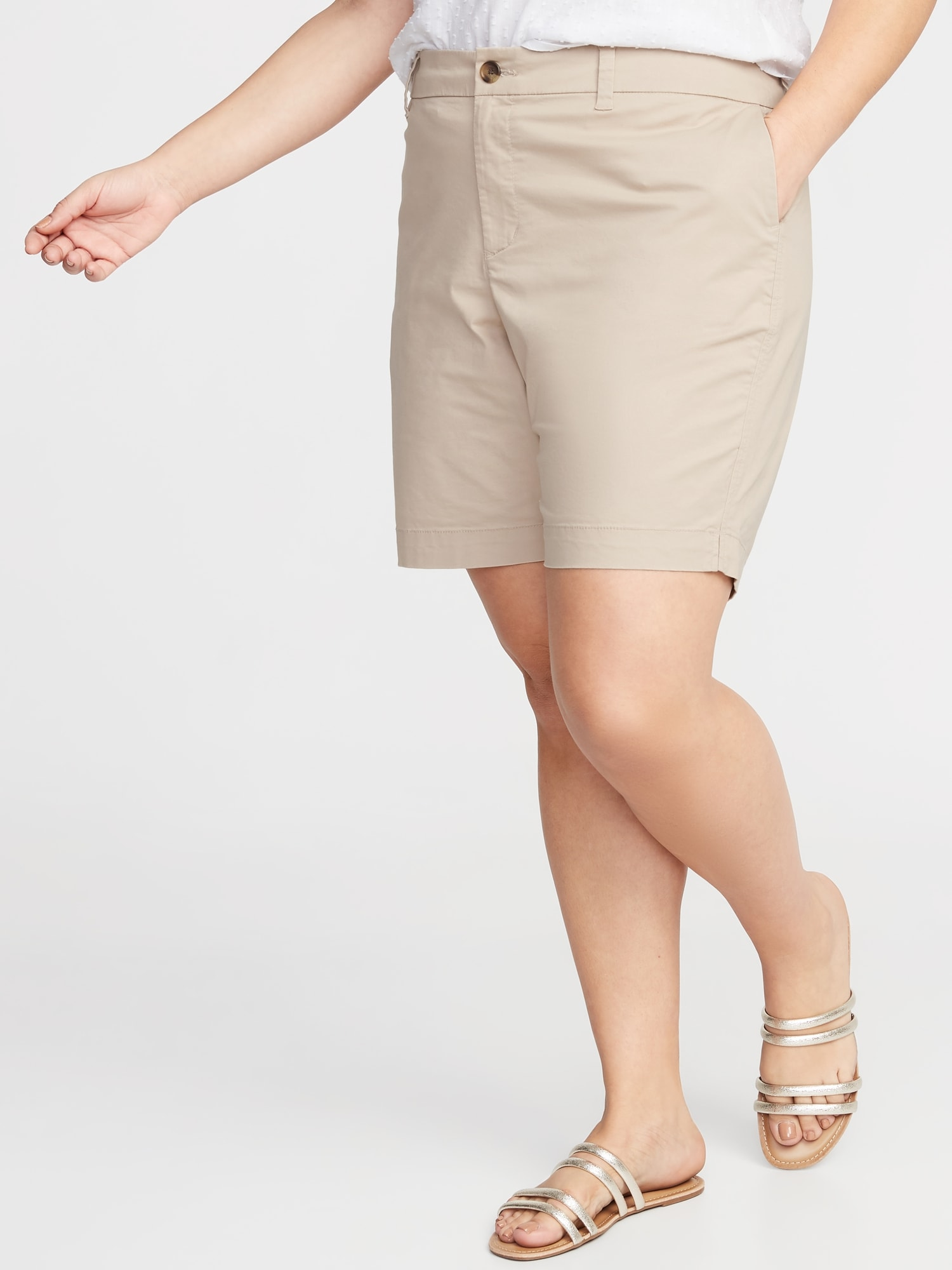 e8fc6362ab Mid-Rise Everyday Twill Plus-Size Shorts - 9-Inch Inseam | Old Navy