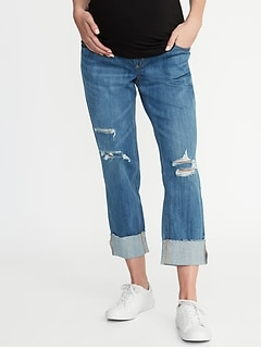 Maternity Full-Panel Distressed Boyfriend Jeans