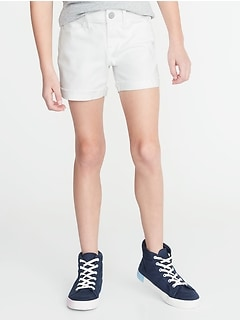 Raw-Edged Cuff White Jean Shorts For Girls