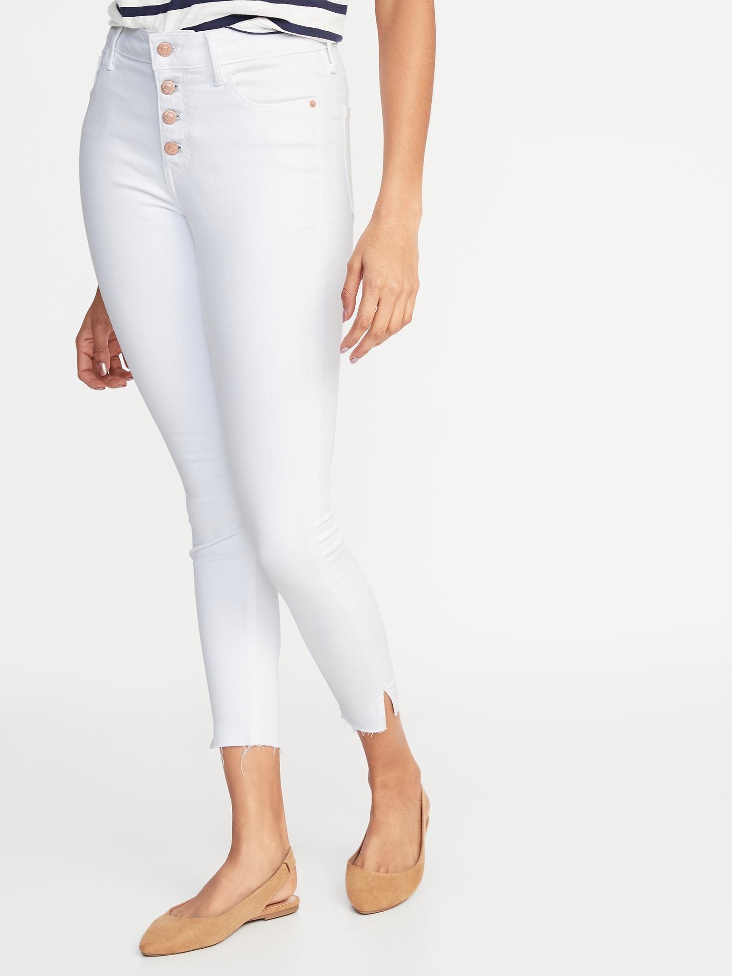 ddde8f2e3c11 High-Rise Secret-Slim Pockets Button-Fly Rockstar Raw-Edge Ankle Jeans for  Women