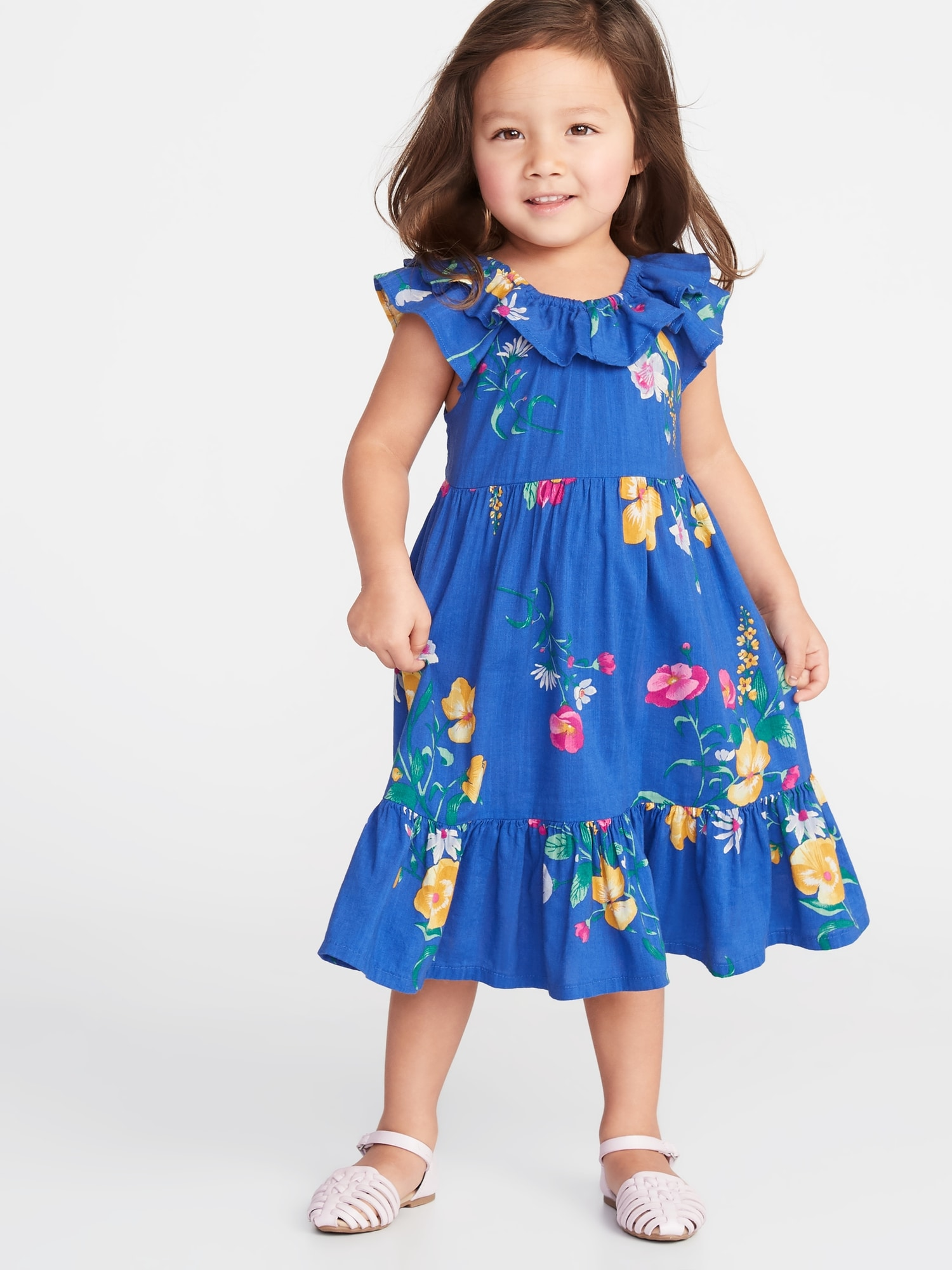 92ab7c7048 Floral Tiered Swing Dress for Toddler Girls