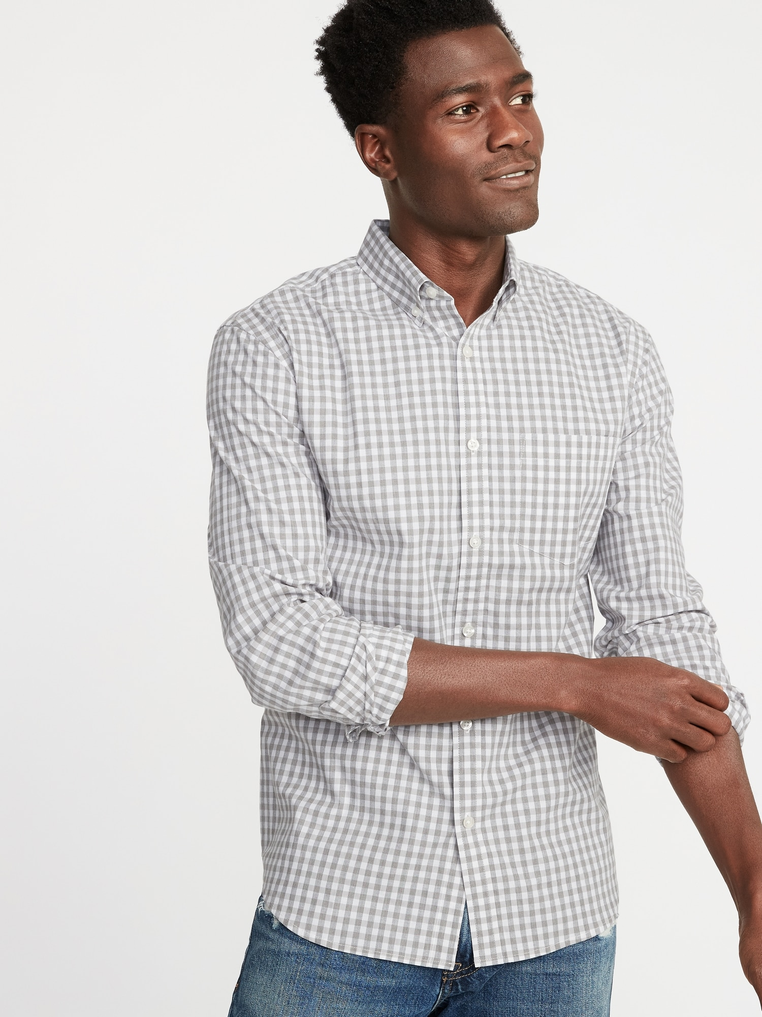 db002153 Slim-Fit Built-In Flex Plaid Everyday Shirt for Men | Old Navy