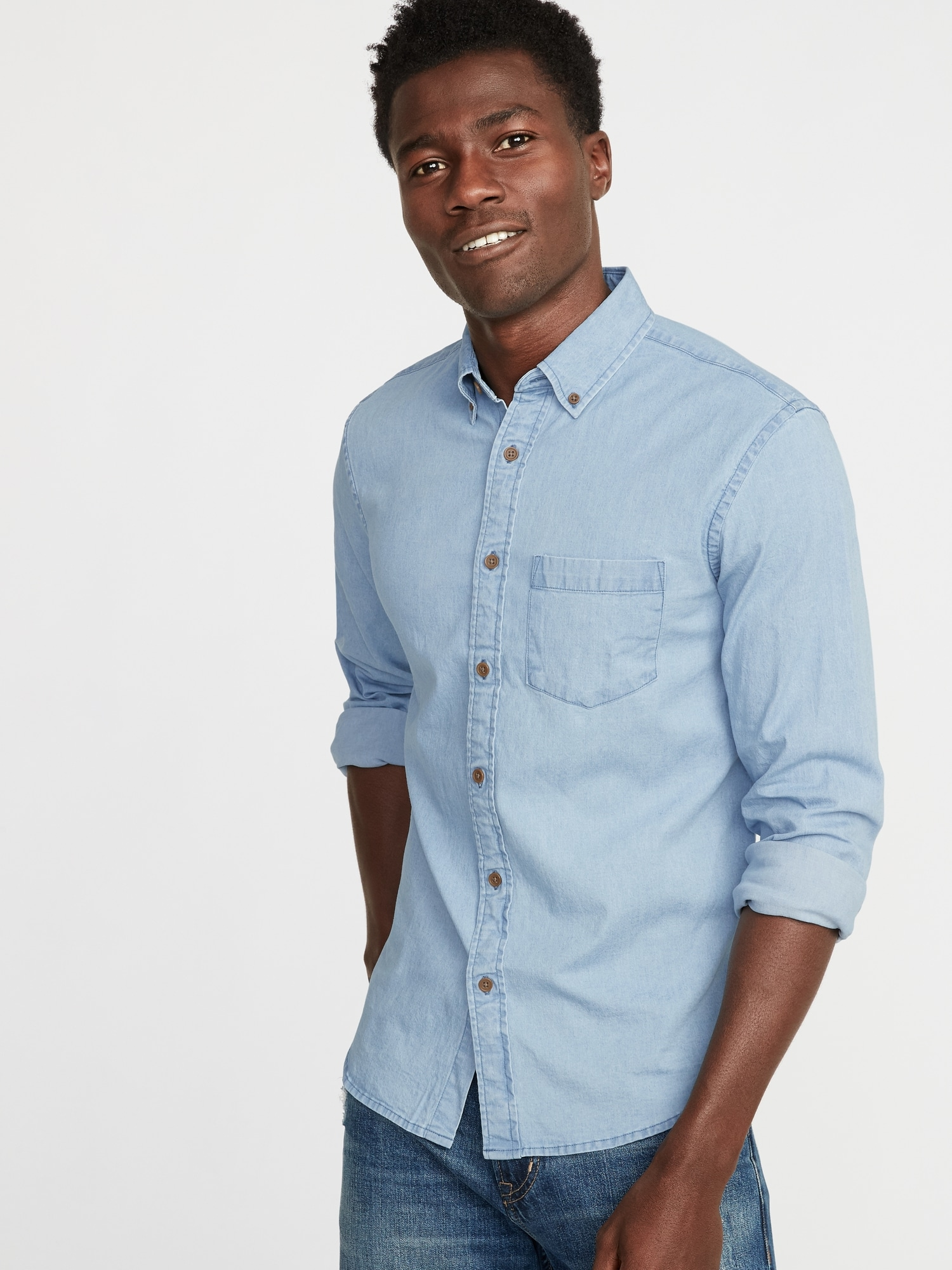 Slim-Fit Built-In Flex Chambray Everyday Shirt for Men  420b33249