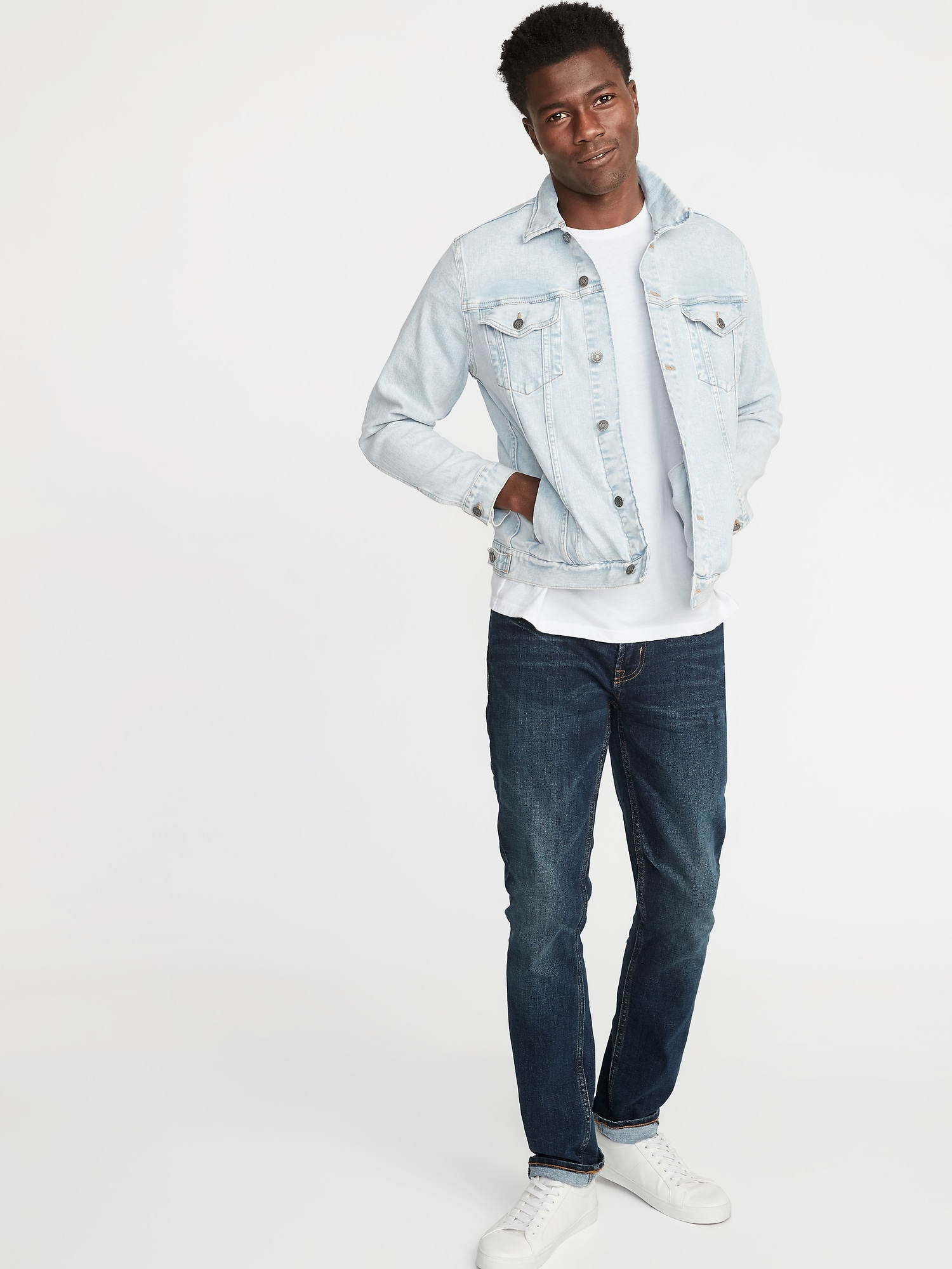 a0fda02fc7ef Light-Wash Built-In Flex Denim Jacket for Men