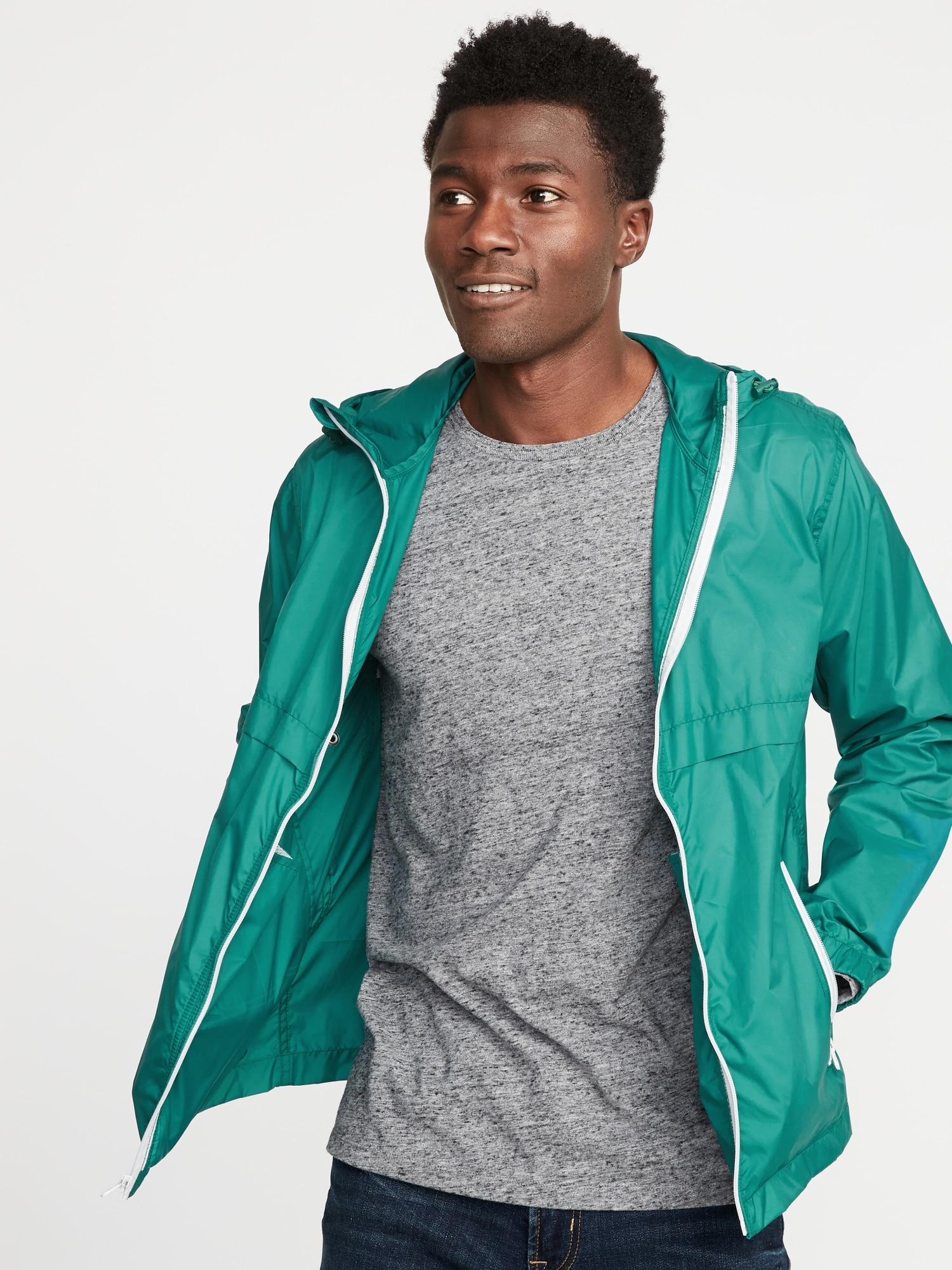bcbb2bd4ea Packable Water-Resistant Hooded Windbreaker for Men