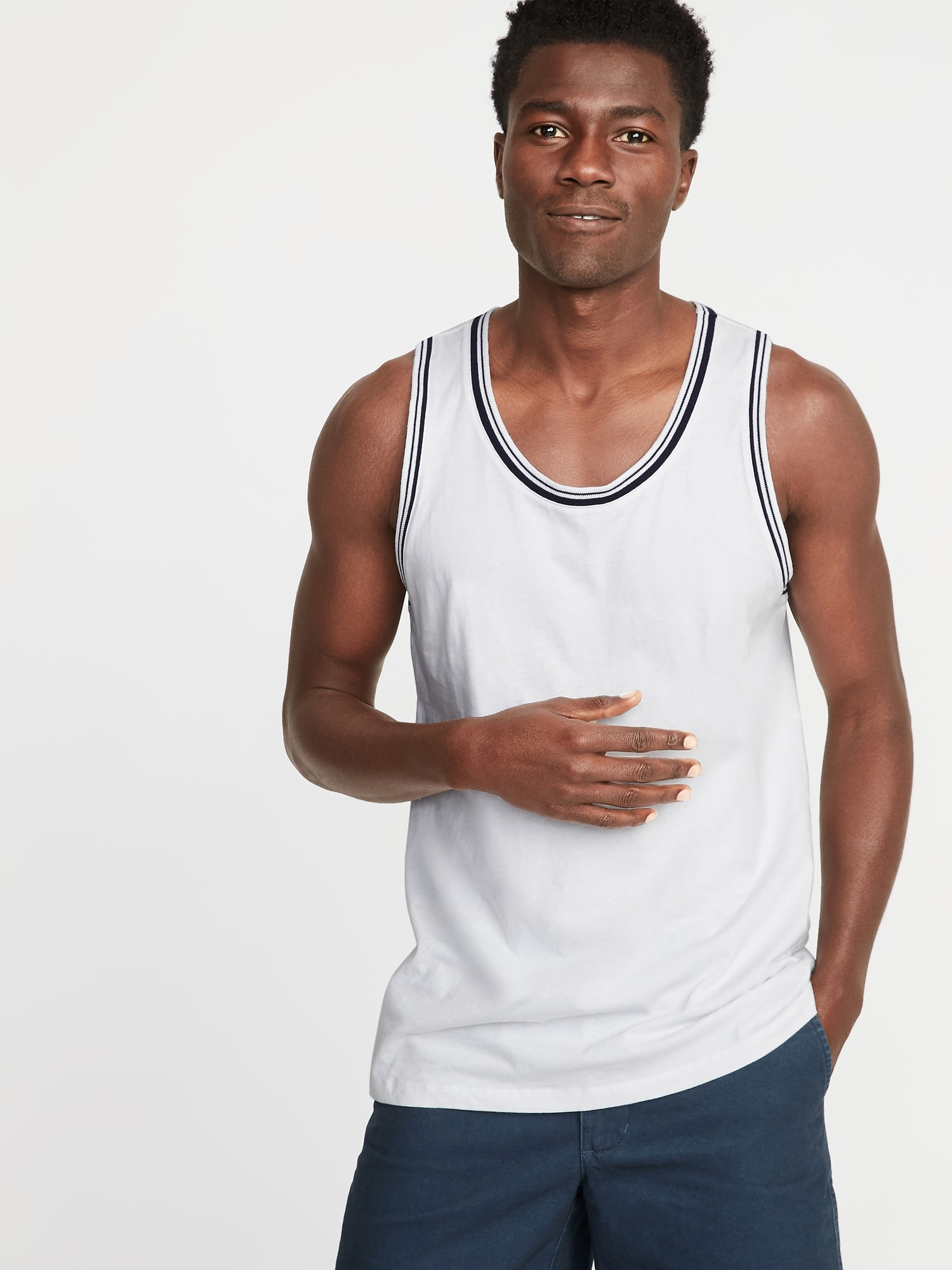5be04f7b02 Soft-Washed Tipped Jersey Tank for Men | Old Navy