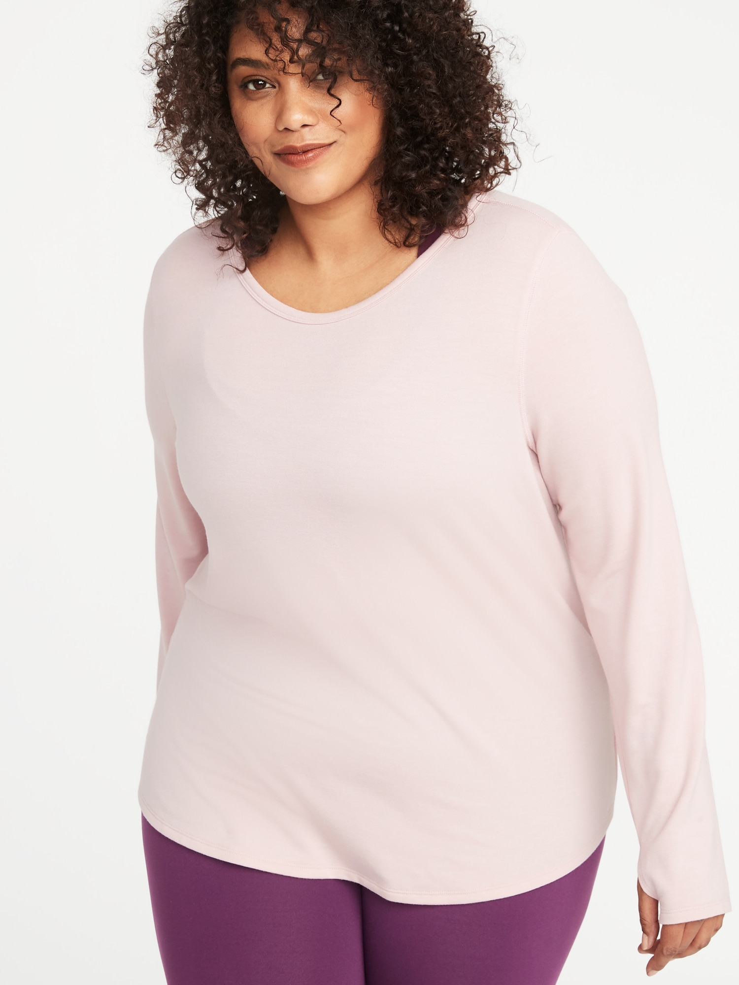 f1166529689 French Terry Surplice-Black Plus-Size Performance Top
