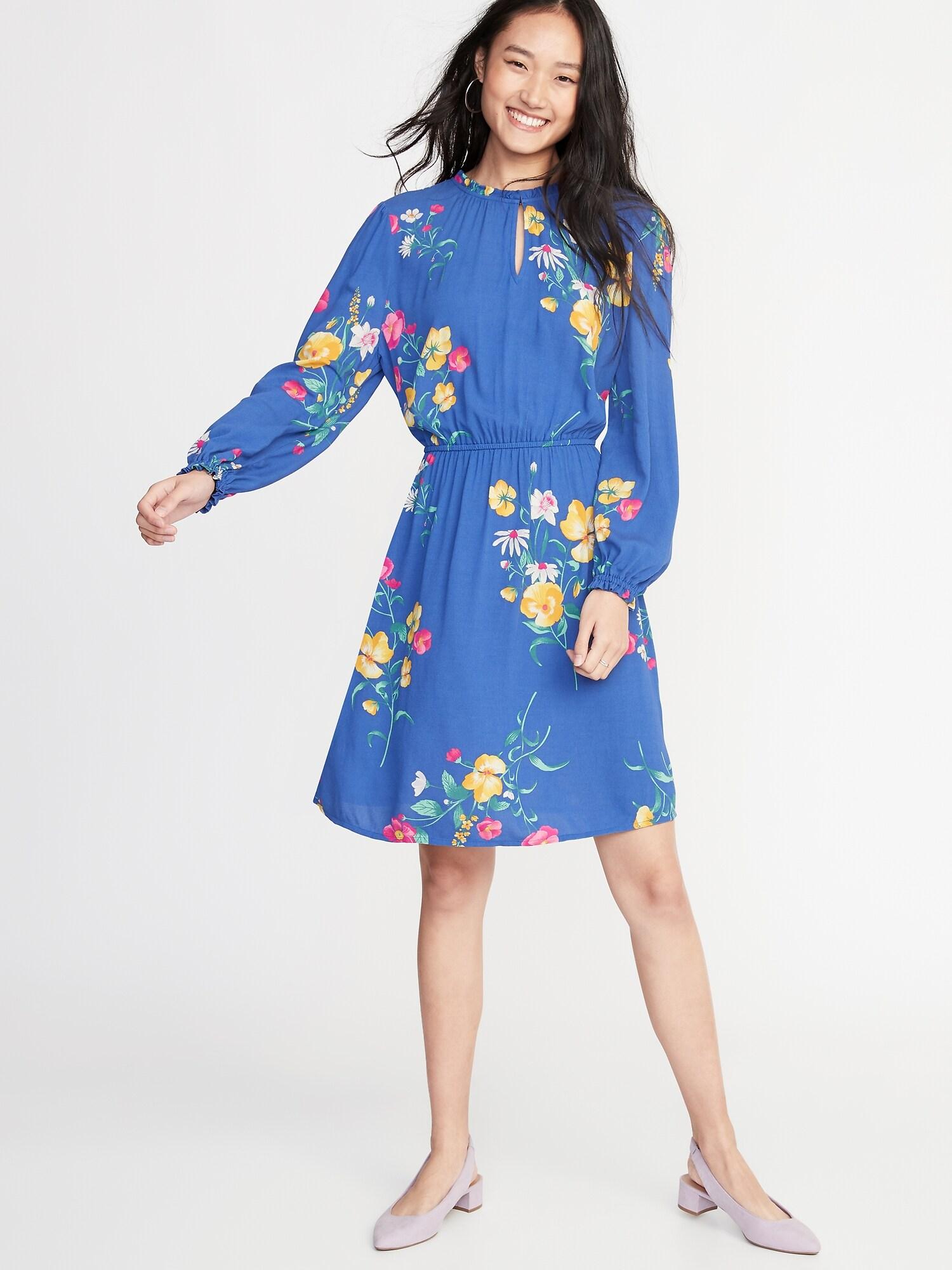 37332d410c1 Waist-Defined Ruffle-Trim Dress for Women